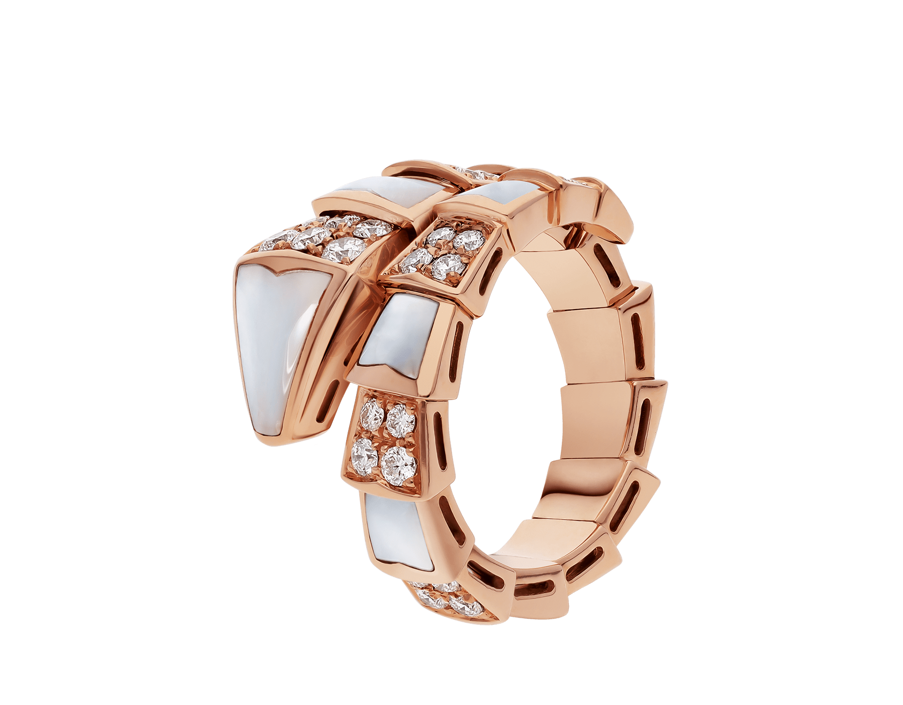 Serpenti Viper one-coil ring in 18 kt rose gold, set with mother-of-pearl elements and pavé diamonds. AN857081 image 1