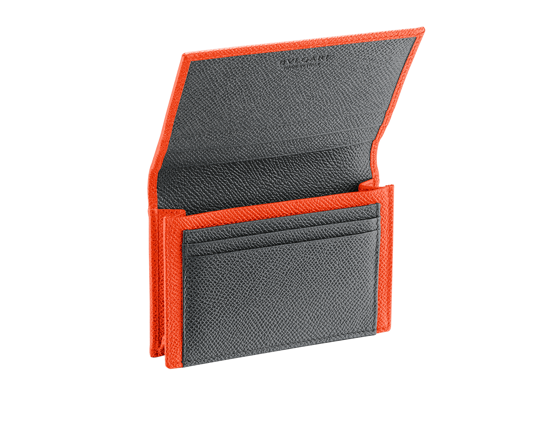 BVLGARI BVLGARI business card holder in fire amber and charcoal diamond grain calf leather, with brass palladium-plated logo décor. 289117 image 2