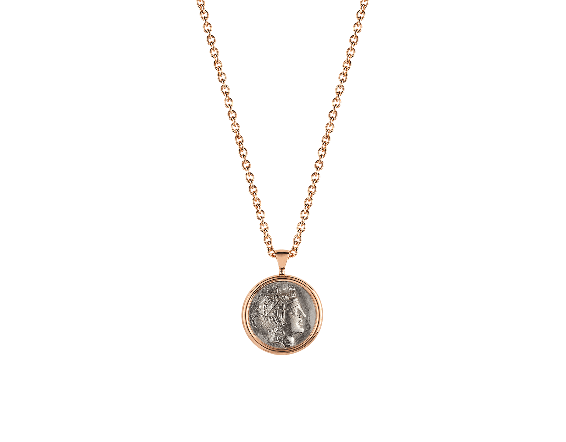 Monete necklace with 18 kt rose gold chain and 18 kt rose gold pendant set with an antique coin 347707 image 1