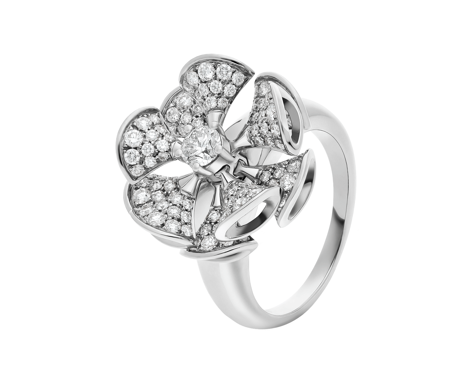 DIVAS' DREAM ring in 18 kt white gold set with central diamond and full pavé diamonds. AN857079 image 1