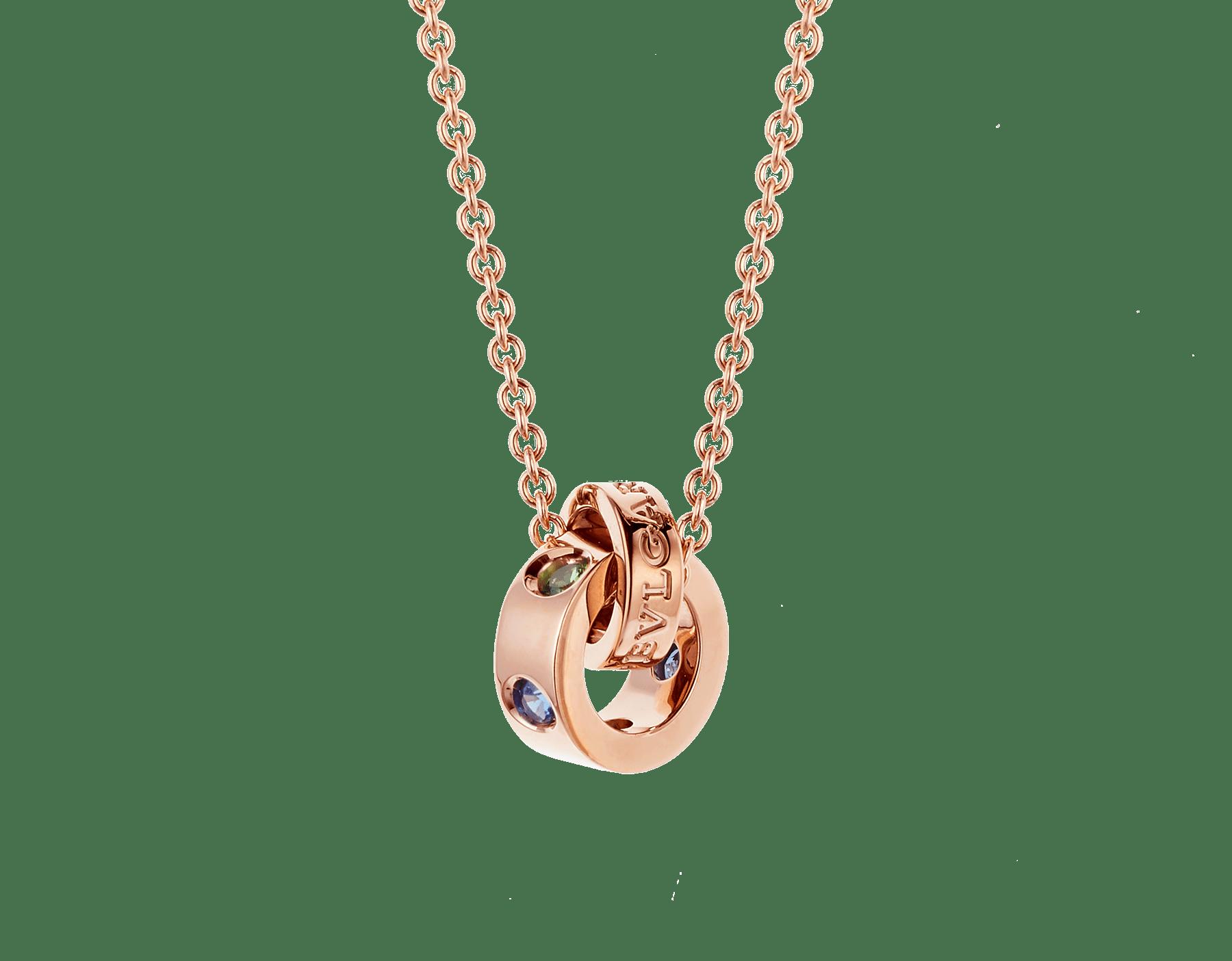 Colar BVLGARIBVLGARI com corrente em ouro rosa 18K e pingente em ouro rosa 18K cravejado com safiras azuis e tsavoritas 352619 image 1