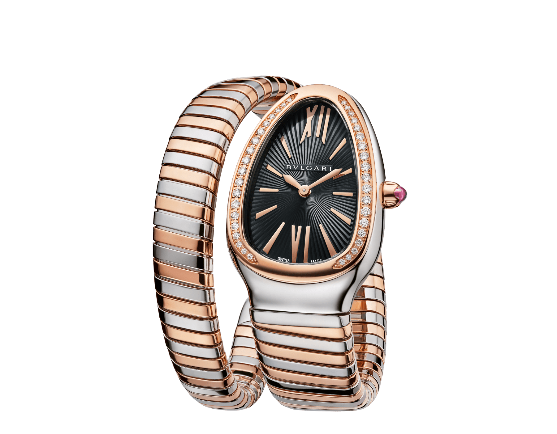 Serpenti Tubogas single spiral watch with stainless steel case, 18 kt rose gold bezel set with brilliant cut diamonds, black opaline dial, 18 kt rose gold and stainless steel bracelet. 102098 image 2
