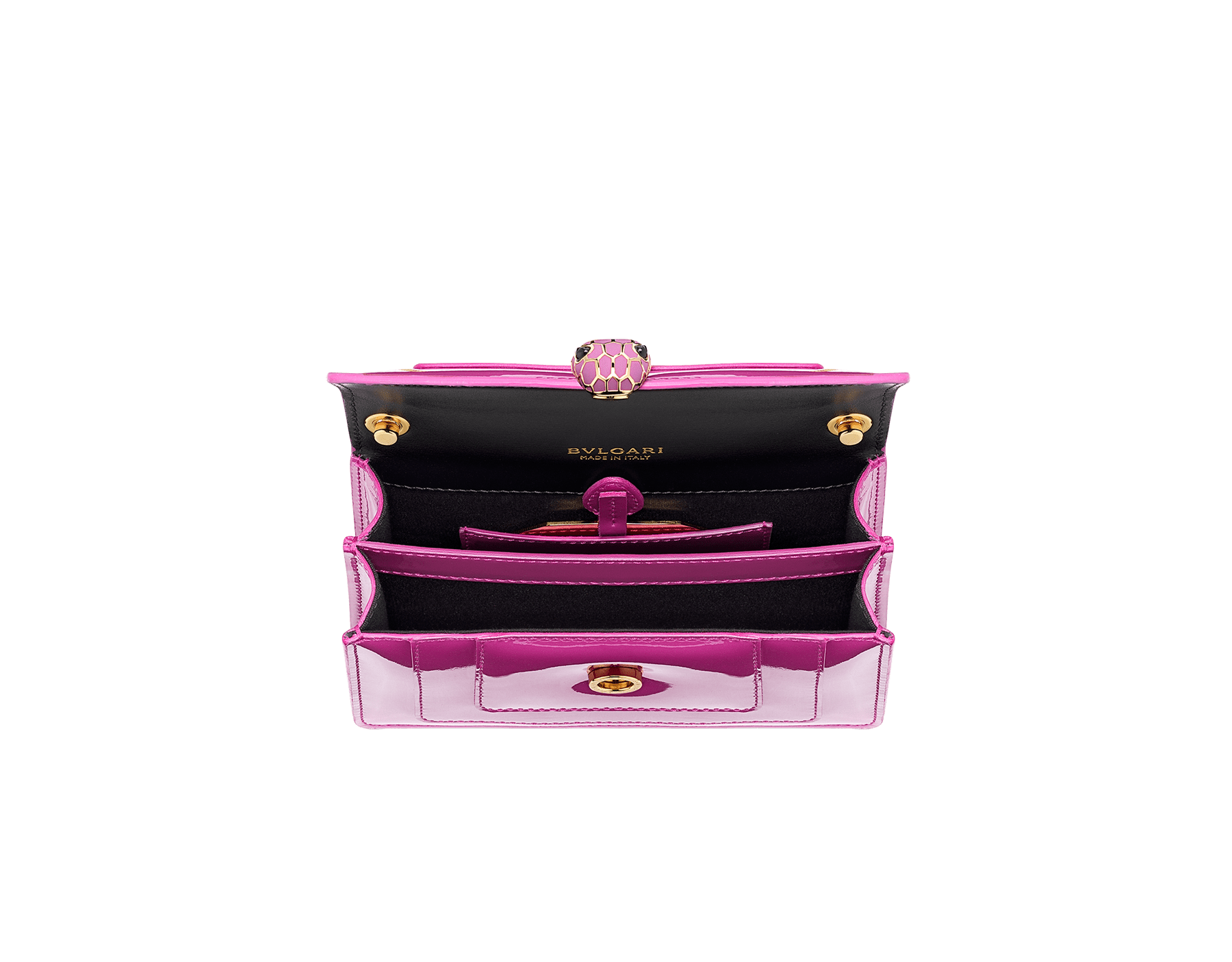 """Serpenti Forever"" crossbody mini bag in Magenta Spinel purple with a varnished and pearled effect, and black gros grain internal lining. Brass gold plated snakehead closure in full matte Magenta Spinel purple enamel, with black onyx eyes. Chinese New Year Special Edition. 986-VCL image 4"
