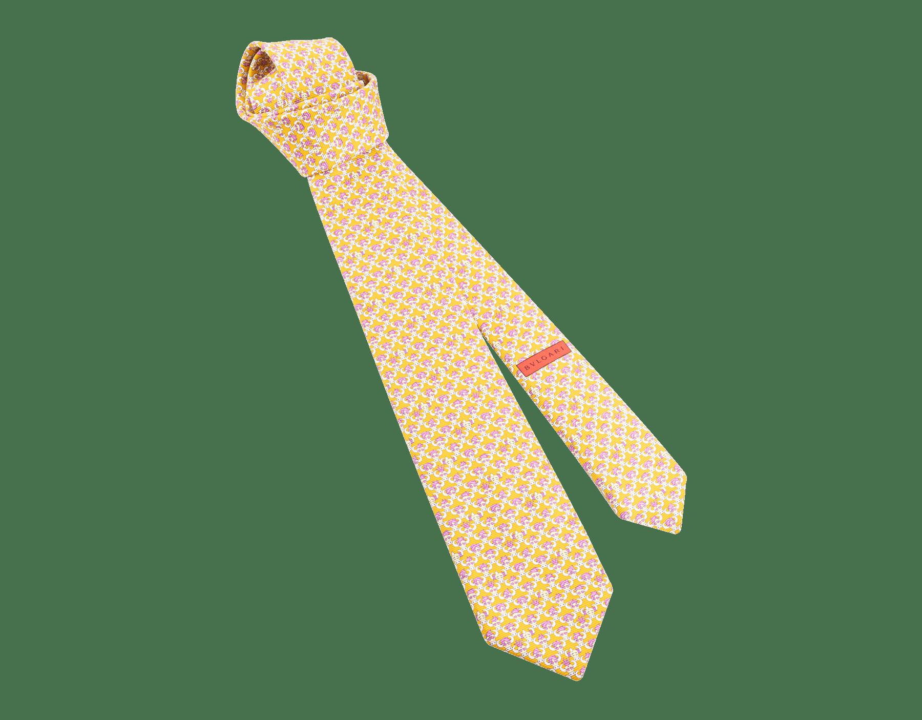 """Yellow """"Soxial"""" seven-fold tie in fine saglione silk. SOXIAL image 1"""