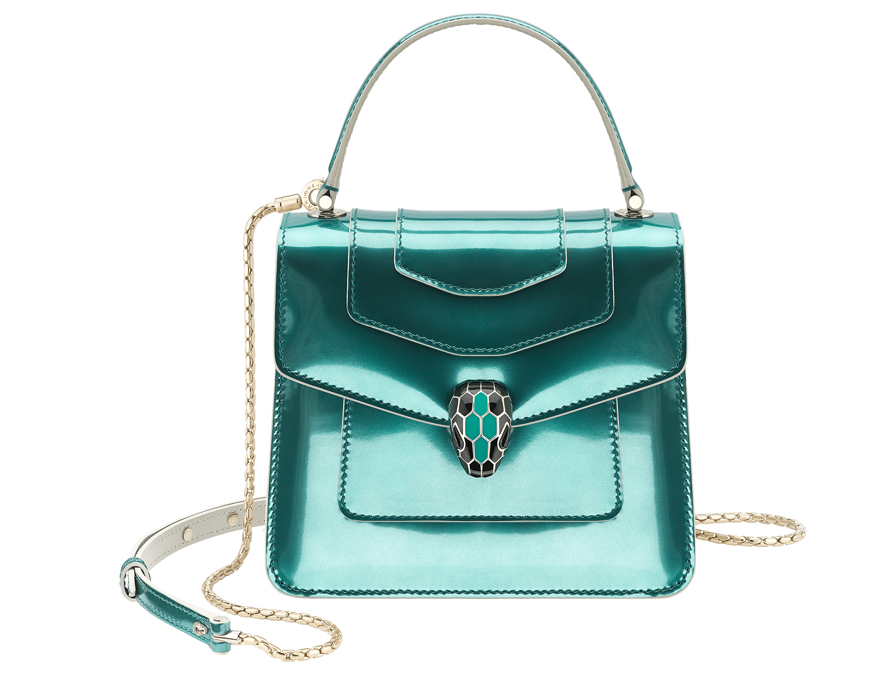 """Serpenti Forever "" crossbody bag in brushed metallic arctic jade calf leather body and brushed metallic arctic jade calf leather and white agate calf leather sides. Iconic snakehead closure in light gold plated brass enriched with black and arctic jade enamel and black onyx eyes. 289485 image 1"
