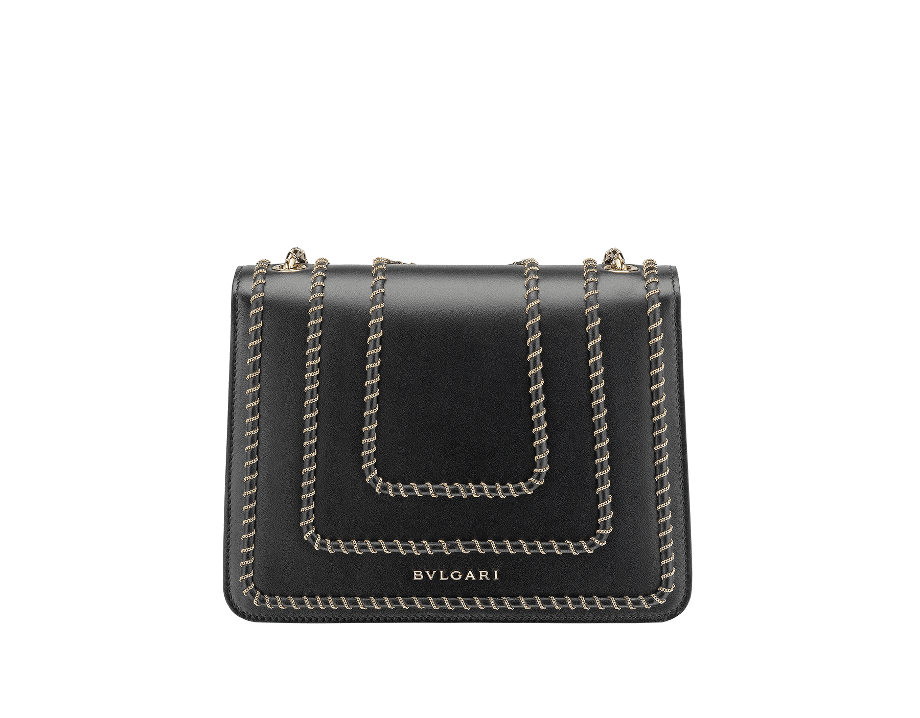 "Borsa a tracolla ""Serpenti Forever"" in vitello nero con motivo Woven Chain. Iconica chiusura Serpenti in ottone placcato oro chiaro e smalto lucido nero con occhi in onice nera. 422-WC image 3"