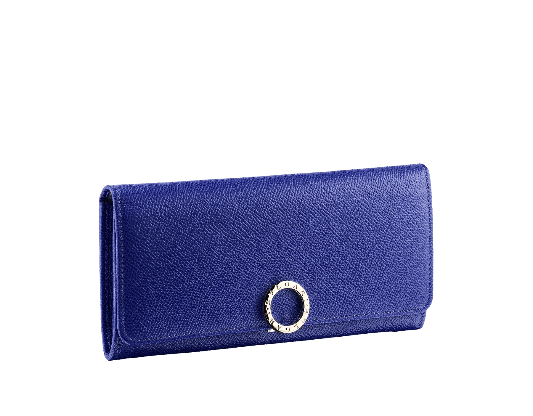 Wallet pochette in royal sapphire bright grain calf leather and teal topaz nappa with plum amethyst nappa lining. Brass light gold plated hardware and iconic BVLGARI BVLGARI closure clip. Nine credit card slots, two bill compartments, one zipped coin case. Also available in other colours. 19 x 9 cm. - 7.5 x 3.5 281443 image 1