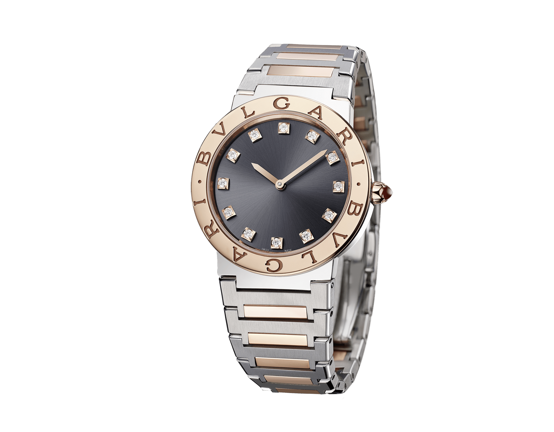 BVLGARI BVLGARI LADY watch with stainless steel case, 18 kt rose gold bezel engraved with double logo, gray lacquered dial, diamond indexes, and stainless steel and 18 kt rose gold bracelet. 103067 image 2