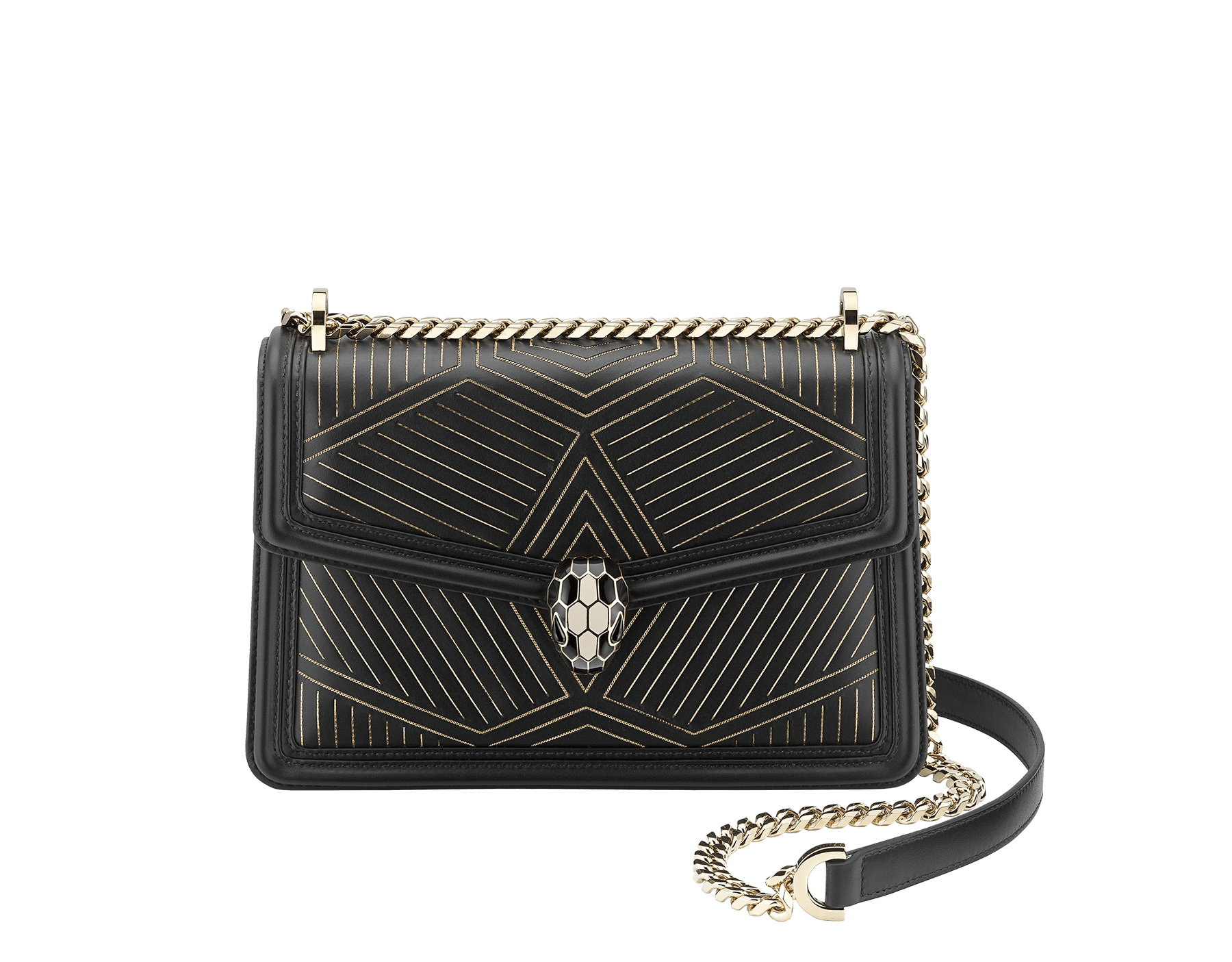 """Serpenti Diamond Blast"" shoulder bag in black smooth calf leather, featuring a Whispy Chain motif in light gold finishing. Iconic snake head closure in light gold plated brass enriched with black and white enamel and black onyx eyes. 288983 image 1"
