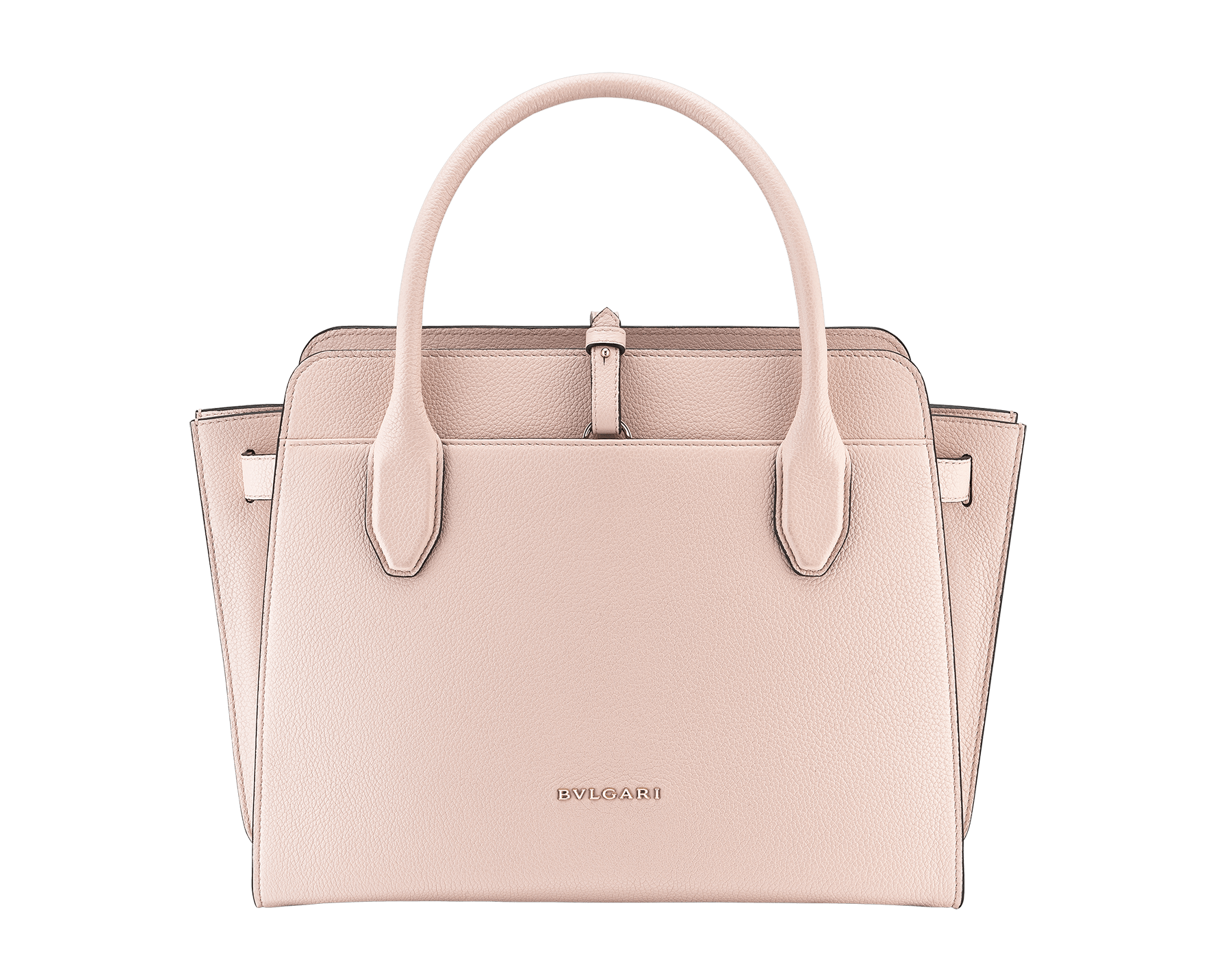 BVLGARI BVLGARI Alba tote bag in crystal rose grain calf leather, with zip closure. Iconic double logo pendant in brass light gold plated metal with black enamel on the front side, leather on the back side and Tubogas motif 834-CL image 3