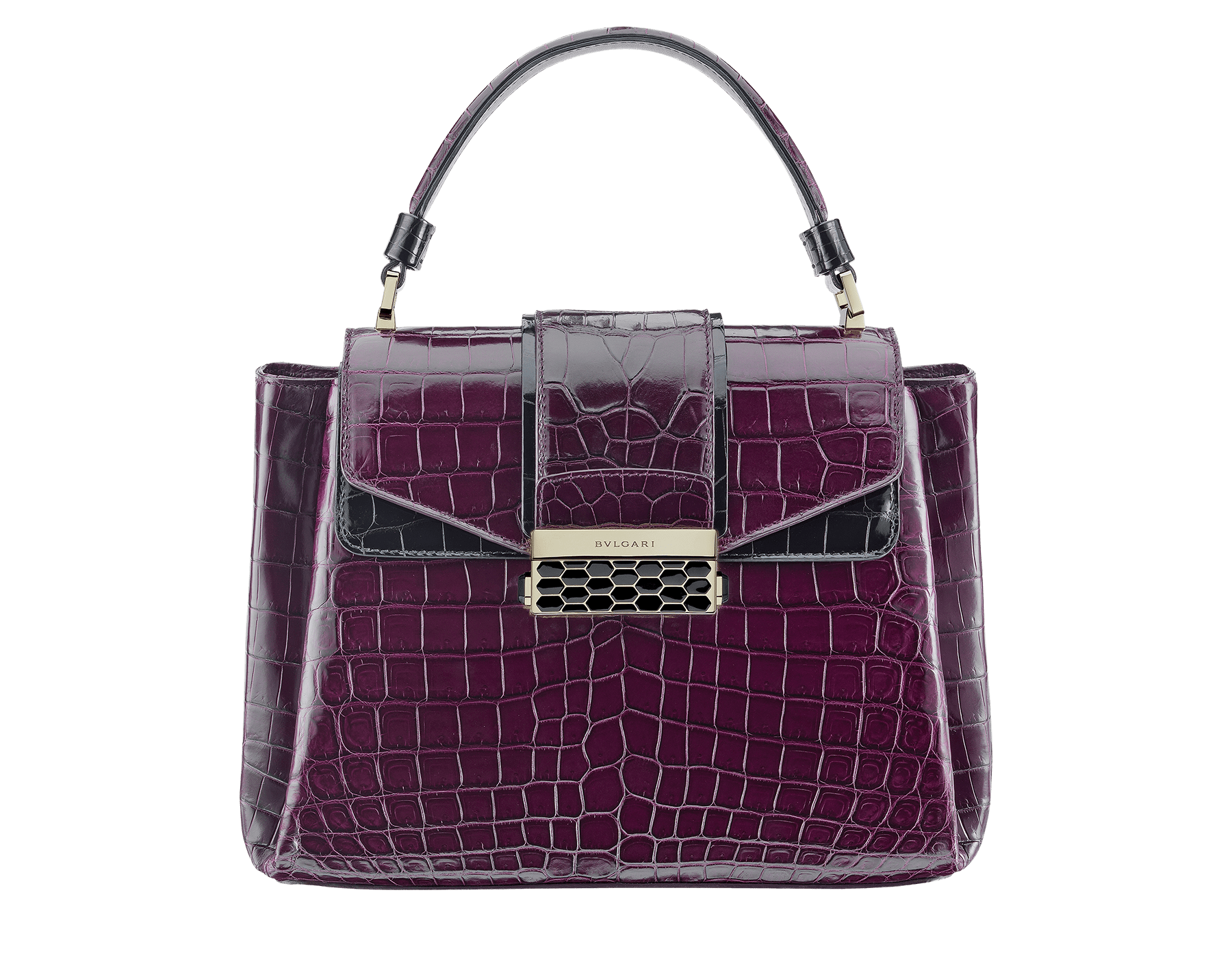 Top handle bag Serpenti Viper in plum amethyst and black shiny crocodile skin. Brass light gold plated hardware and snap closure in black shiny enamel, with iconic Scaglie design. 281775 image 1