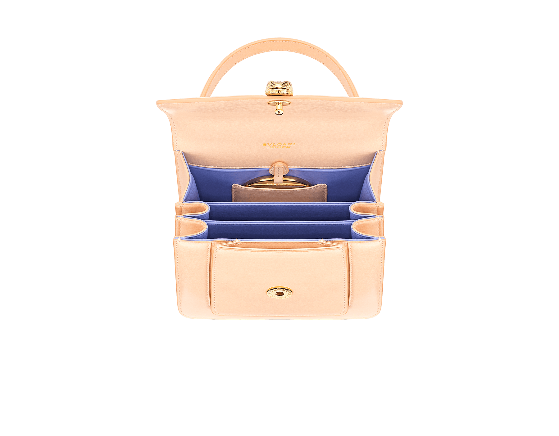 """""""Serpenti Forever"""" small maxi chain top handle bag in peach nappa leather, with Lavender Amethyst lilac nappa leather inner lining. New Serpenti head closure in gold-plated brass, finished with small pink mother-of-pearl scales in the middle and red enamel eyes. 1133-MCN image 4"""