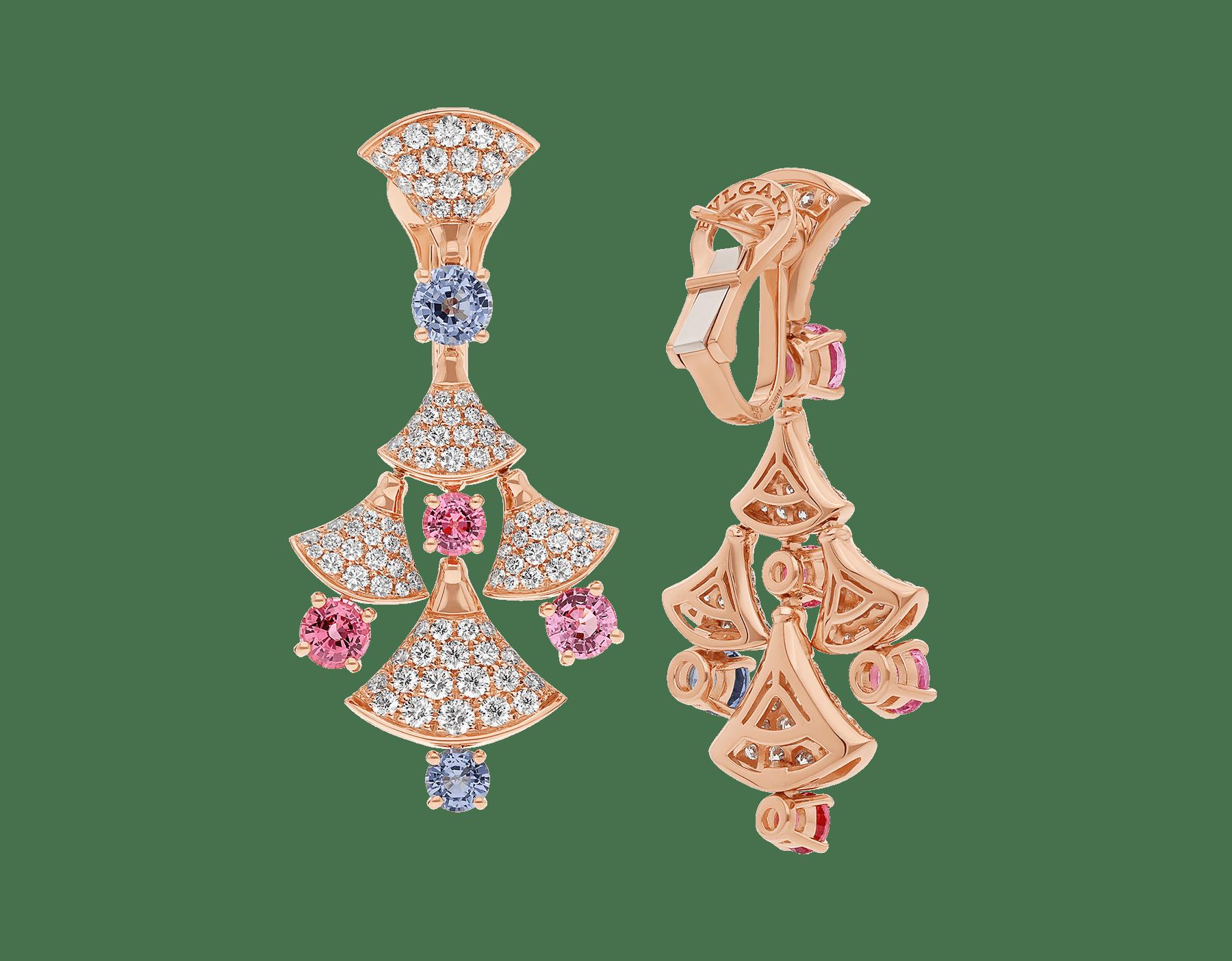 Серьги DIVAS' DREAM, розовое золото 18карат, шпинели классической огранки (3,81 карата), бриллиантовое паве (2,22 карата). 357943 image 3