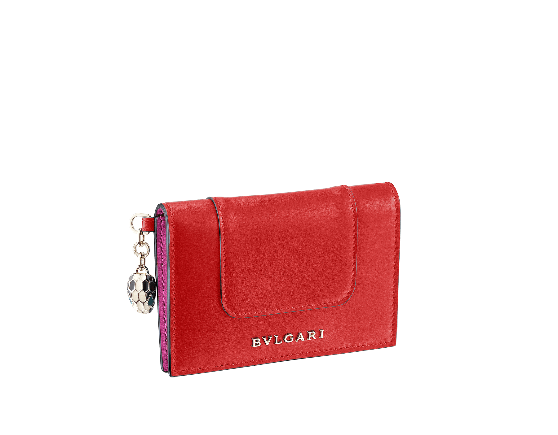 Serpenti Forever folded credit card holder in carmine jasper and flash amethyst calf leather. Iconic snakehead charm in black and white enamel, with green malachite enamel eyes. 288821 image 1