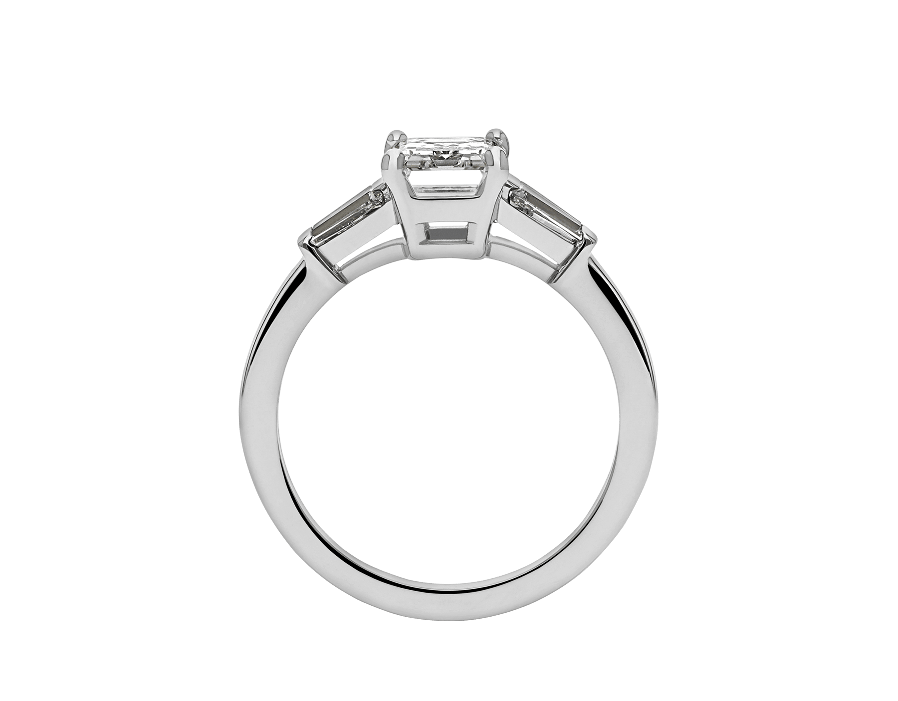 Griffe solitaire ring in platinum with one emerald cut diamond and two side diamonds 331649 image 4