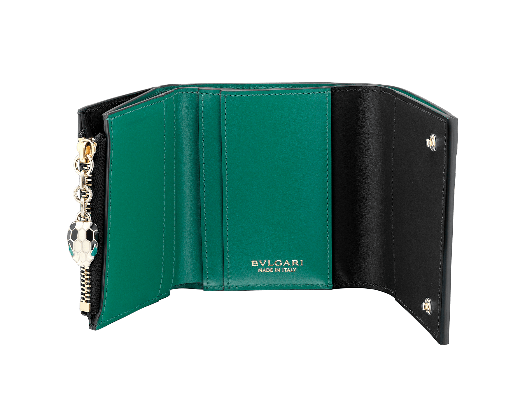 """Serpenti Forever"" super compact wallet in mint and taffy quartz calf leather. Iconic snakehead zip puller in black and white agate enamel, with emerald green enamel eyes. SEA-SUPERCOMPACT-CLb image 2"