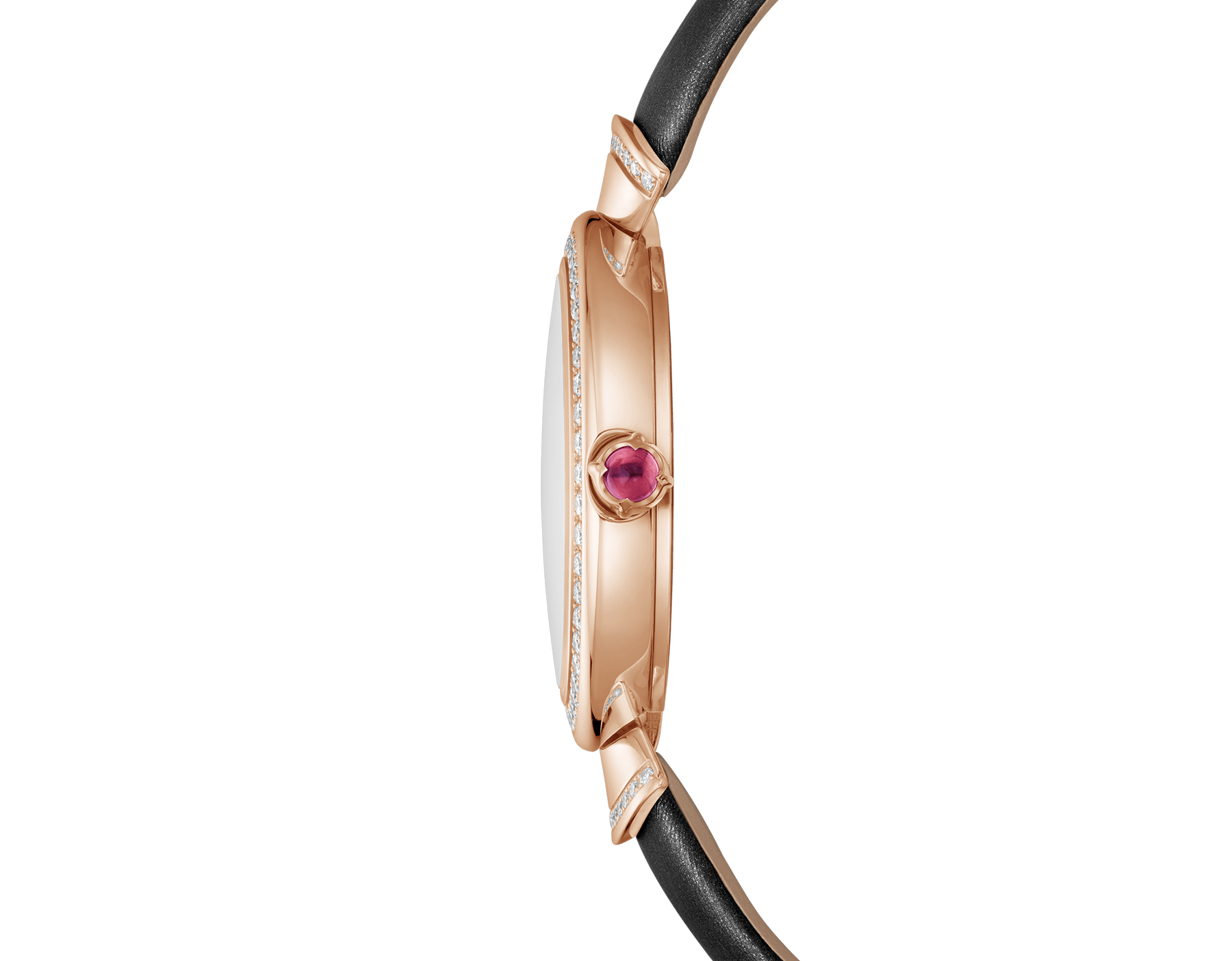 Montre DIVAS' DREAM avec boîtier en or rose 18K serti de diamants taille brillant, cadran pavé diamants et bracelet en satin noir 102432 image 3