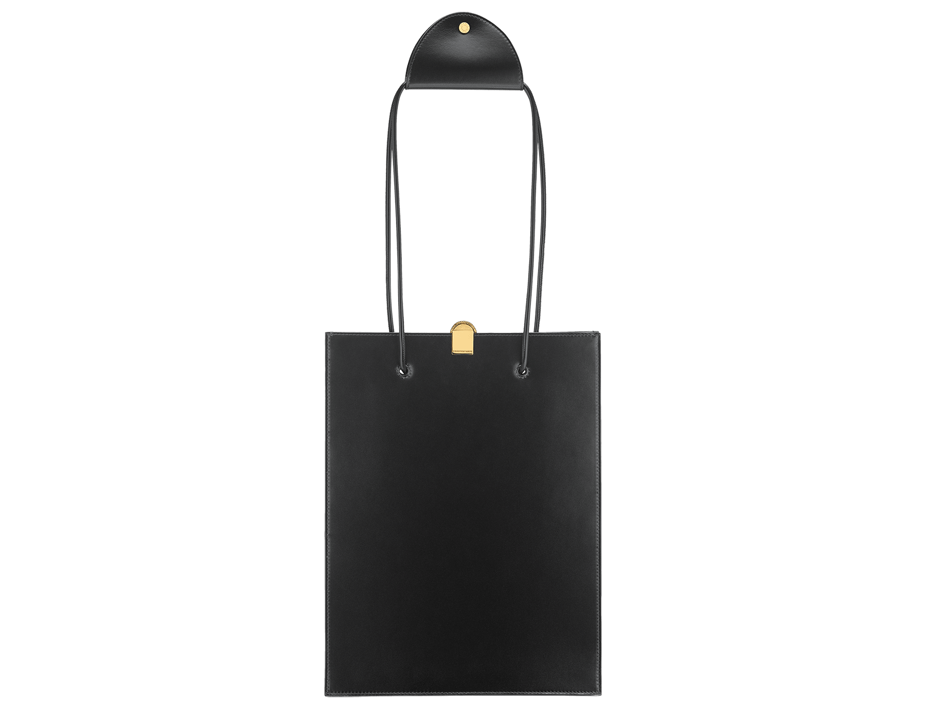 Alexander Wang x Bvlgari shopping tote bag in smooth black calf leather. New Serpenti head closure in antique gold plated brass with tempting red enamel eyes. Limited edition. 288733 image 3