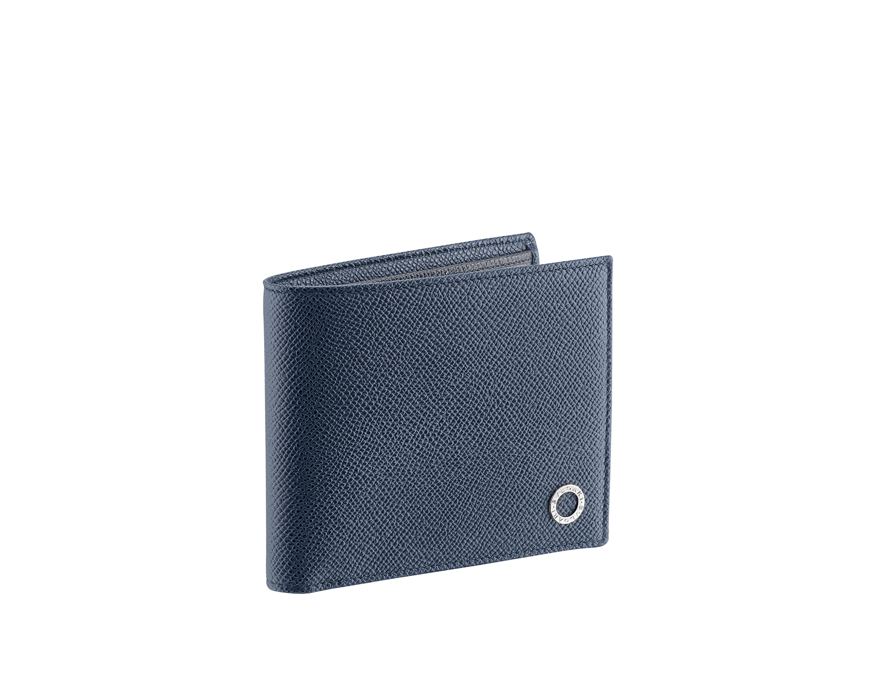 BVLGARI BVLGARI men's hipster wallet in denim sapphire and charcoal diamond grain calf leather. Iconic logo décor in palladium plated brass. 289109 image 1