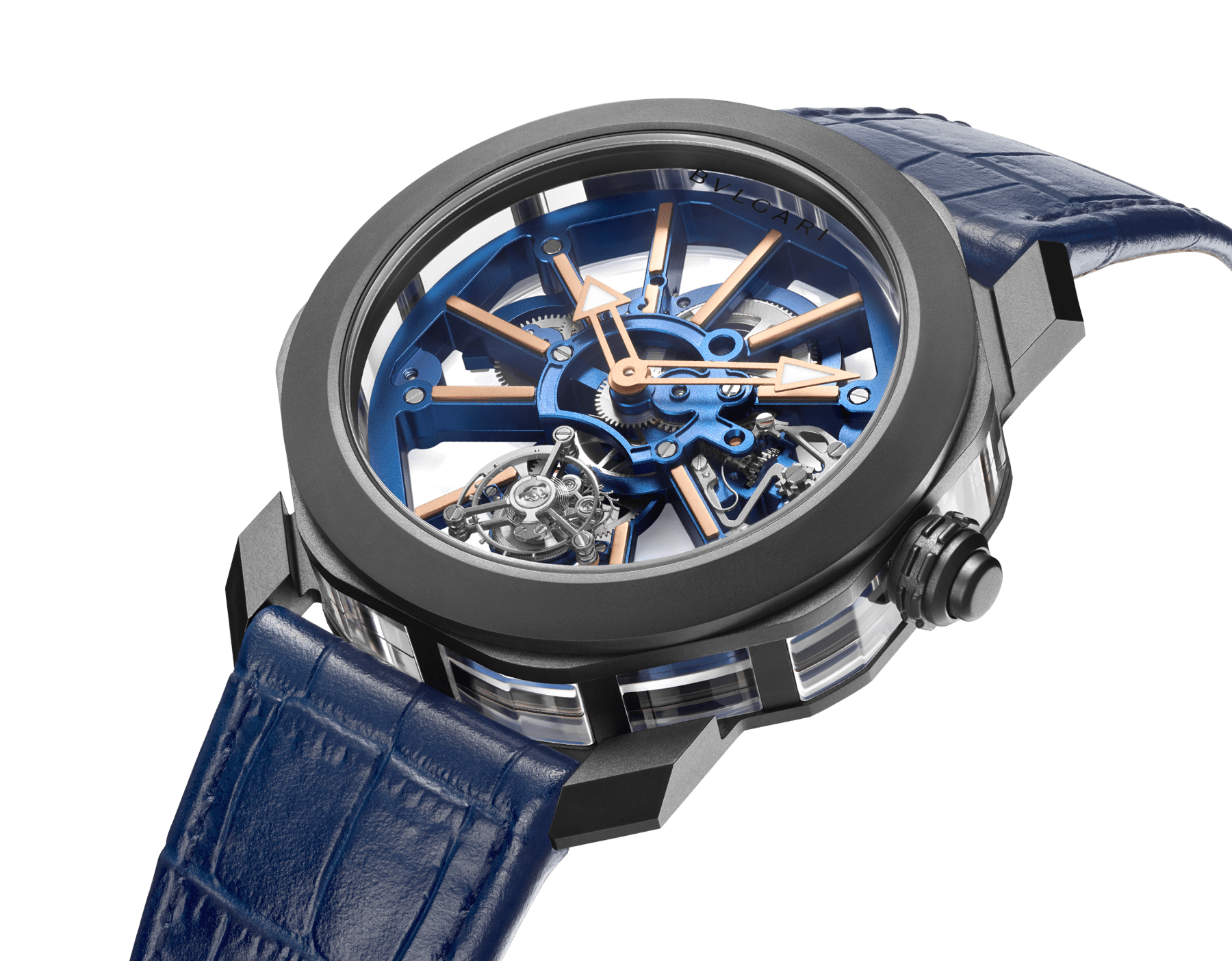 Octo Roma Tourbillon Sapphire watch with mechanical manufacture movement, flying tourbillon, manual winding, titanium case with black Diamond Like Carbon treatment, sapphire middle case, blue PVD calibre decorated with 18 kt rose gold indexes on the bridges and blue alligator bracelet 103154 image 2