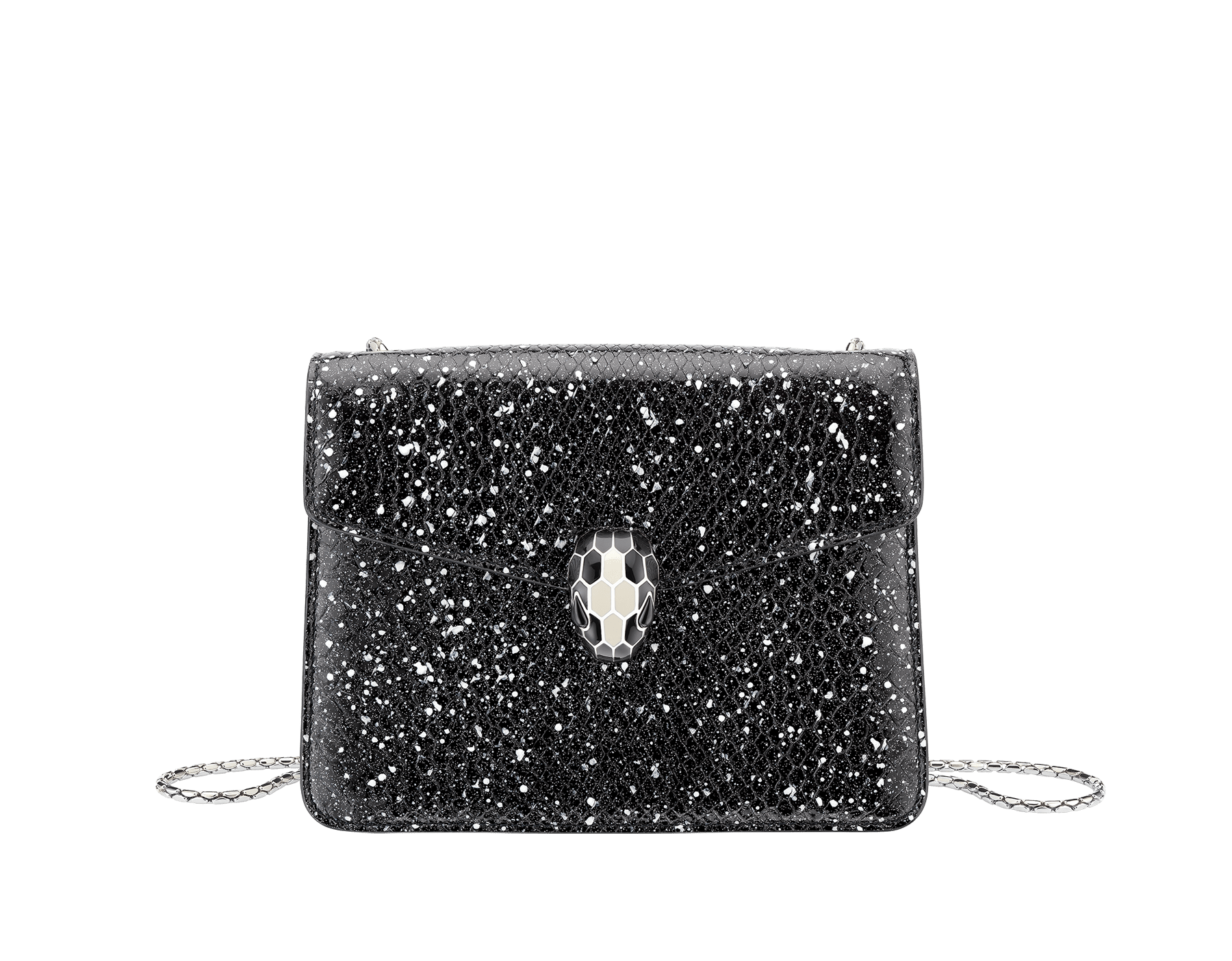 Serpenti Forever crossbody bag in black and white Cosmic python skin. Snakehead closure in palladium plated brass decorated with black and white enamel, and black onyx eyes. 288110 image 1