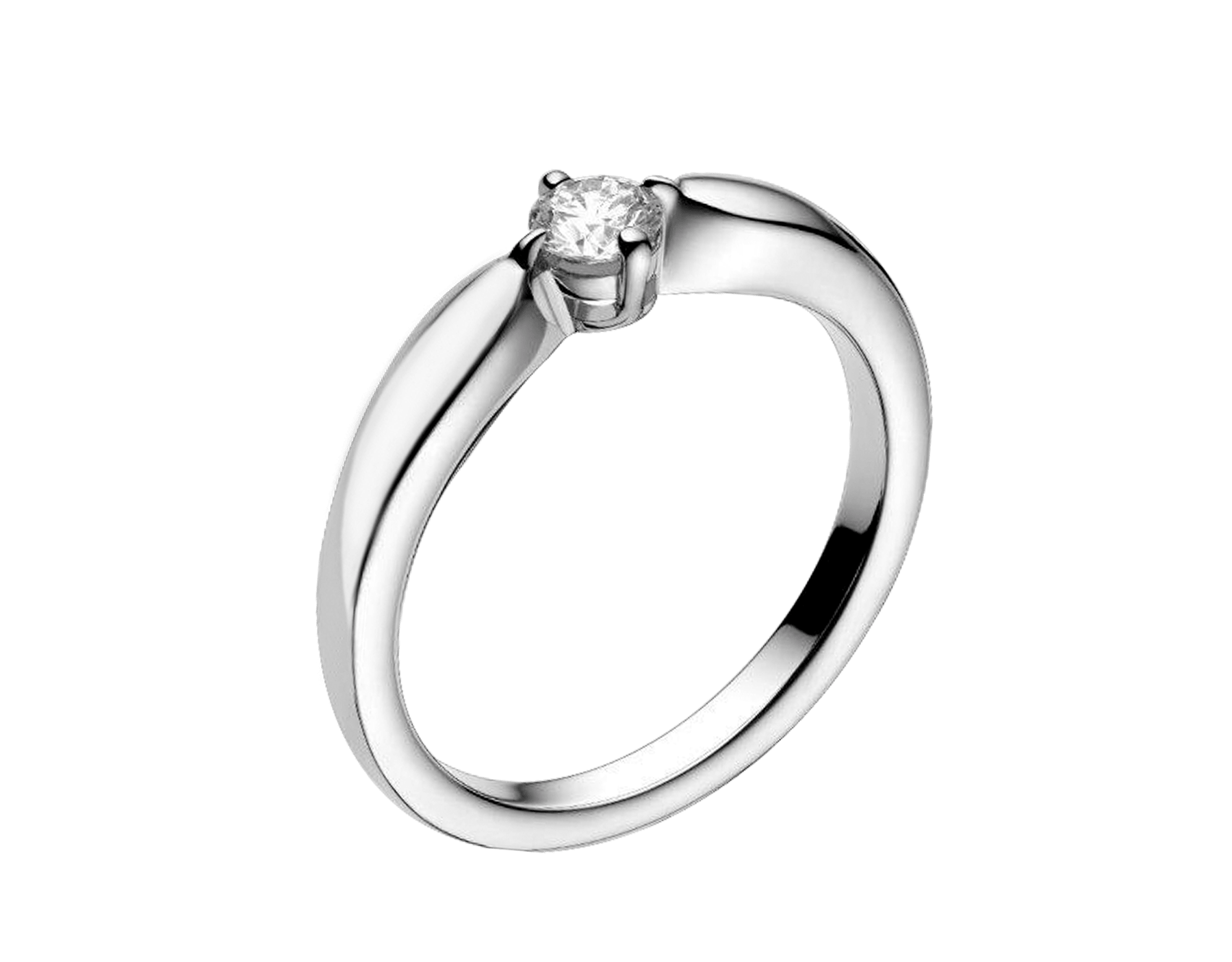 Dedicata a Venezia: Torcello solitaire ring in platinum with round brilliant-cut diamond. Available from 0.30 ct. Its curved setting perfectly embraces the diamond. The name comes from the Venetian island of Torcello. 345192 image 1