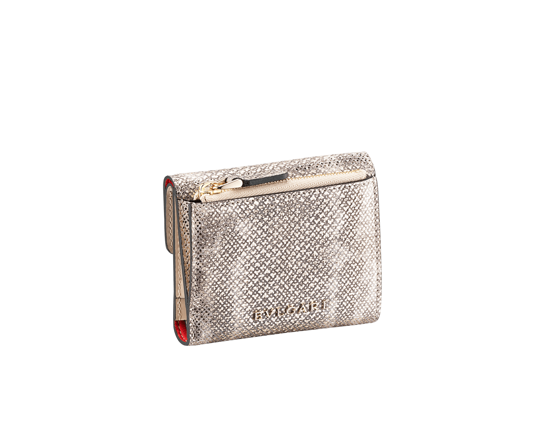 Serpenti Forever slim compact wallet in milky opal karung skin and milky opal calf leather. Iconic snakehead stud closure in black and glitter milky opal enamel, with black onyx eyes 289205 image 3