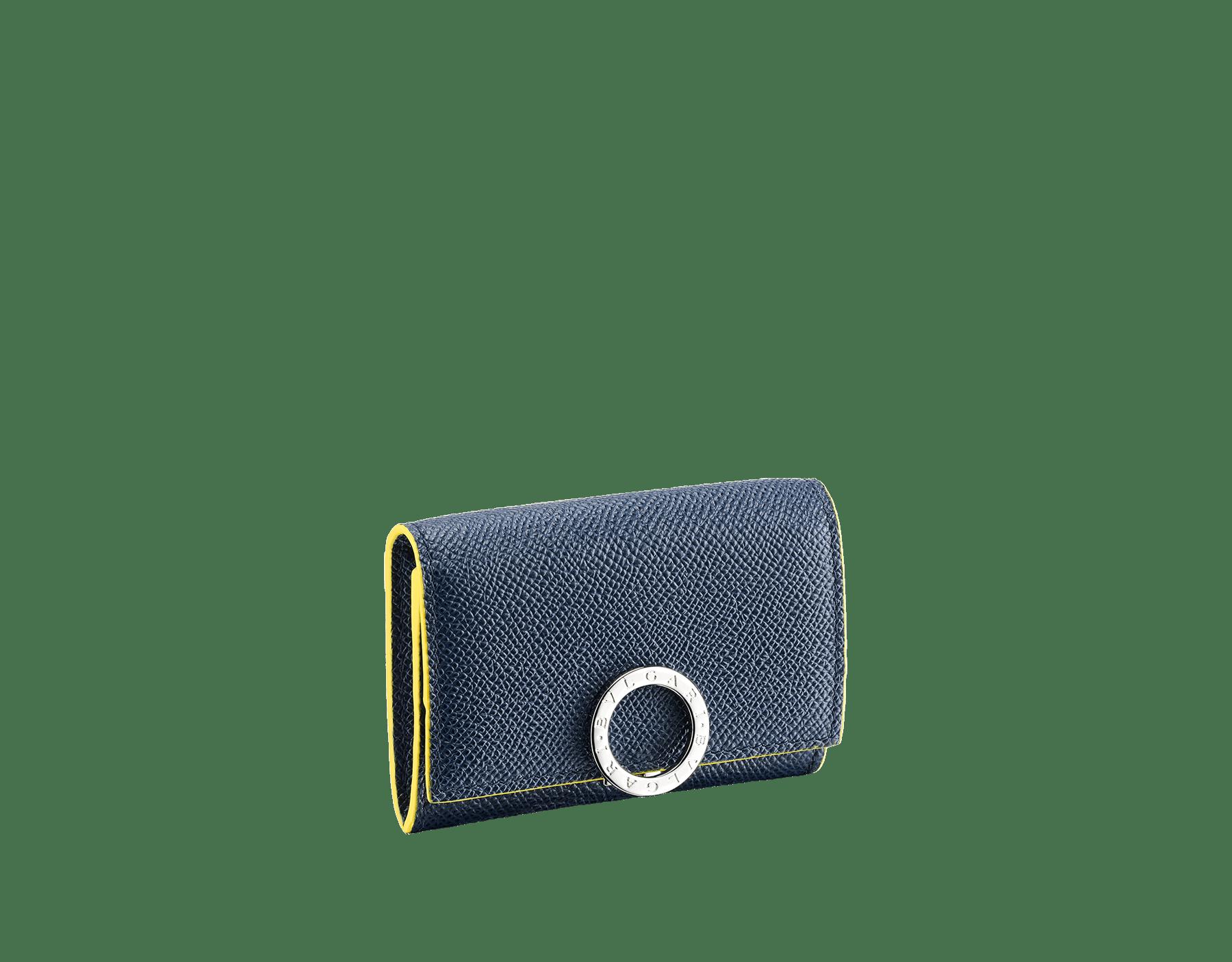 Porte-monnaie BVLGARIBVLGARI en cuir de veau grainé couleur Denim Sapphire et Daisy Topaz avec doublure en moire bleu marine foncé. Fermoir emblématique orné du logo Bvlgari en laiton. 289859 image 1