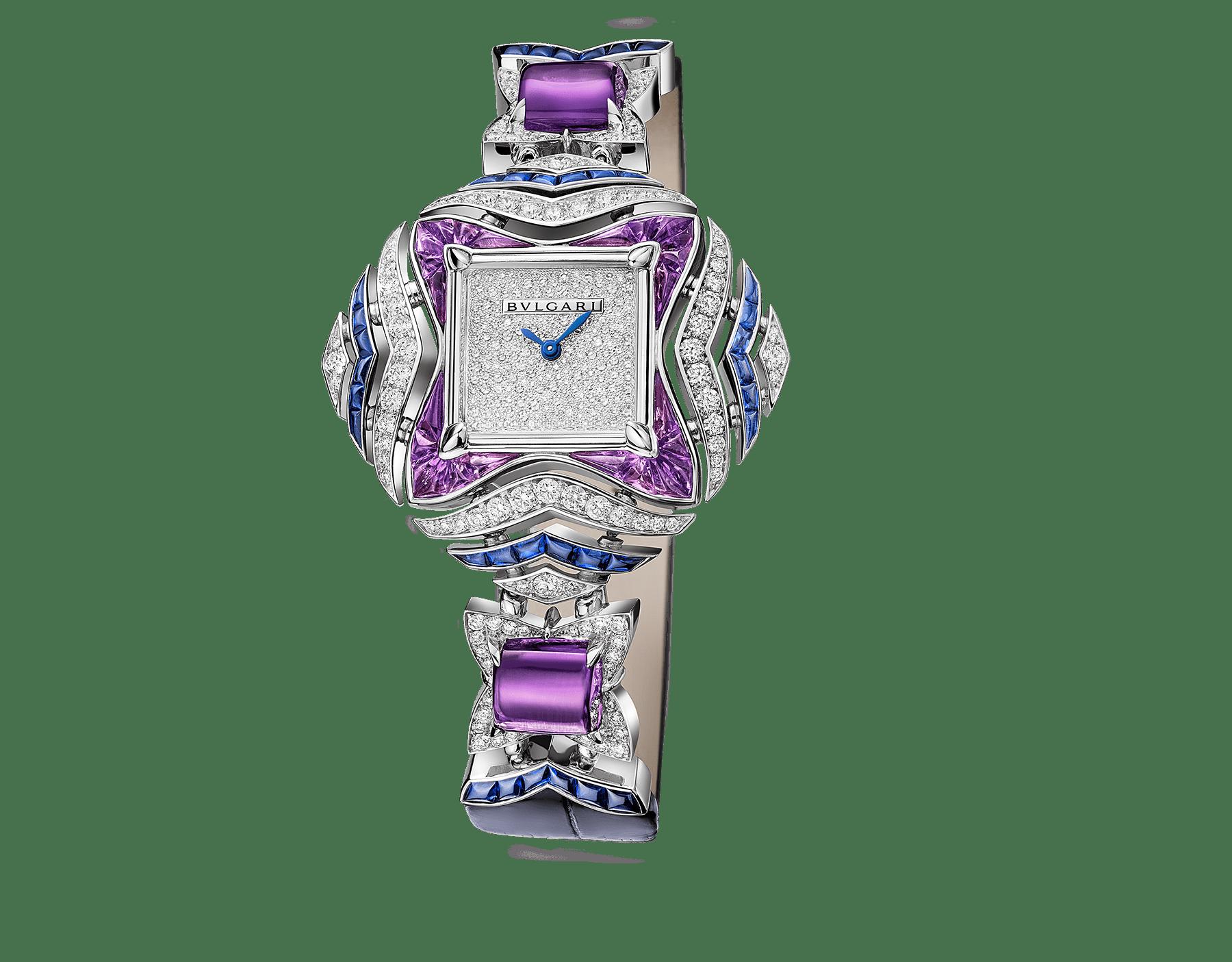 무사 워치. 18kt 화이트 골드 소재에 브릴리언트컷 다이아몬드와 버프컷 사파이어, 버프컷 및 카보숑컷 아메시스트가 세팅된 케이스와 링크, 스노우 파베 다이얼, 블루 앨리게이터 브레이슬릿 102244 image 1