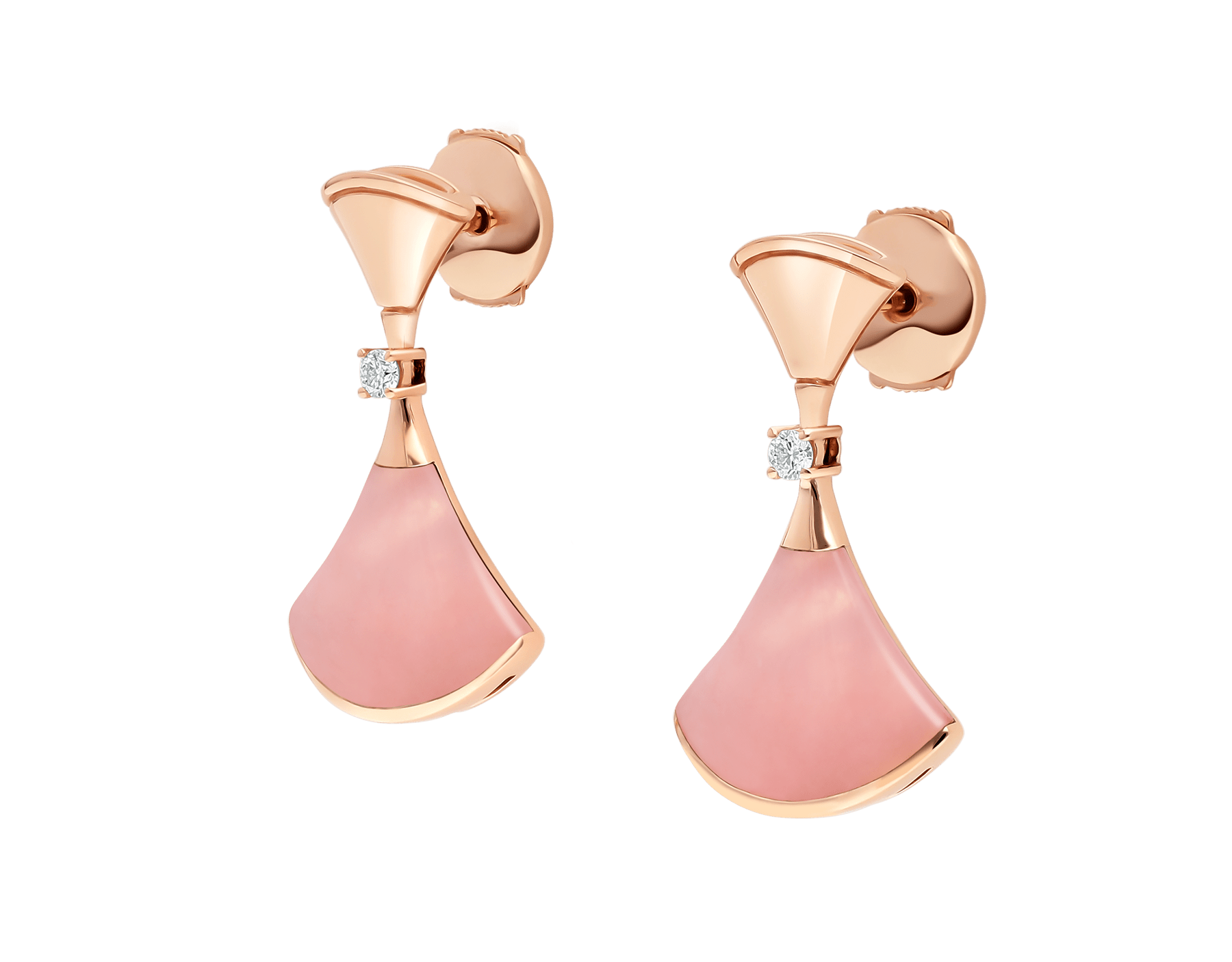 DIVAS' DREAM earrings in 18 kt rose gold set with pink opal inserts and pavé diamonds 357862 image 2