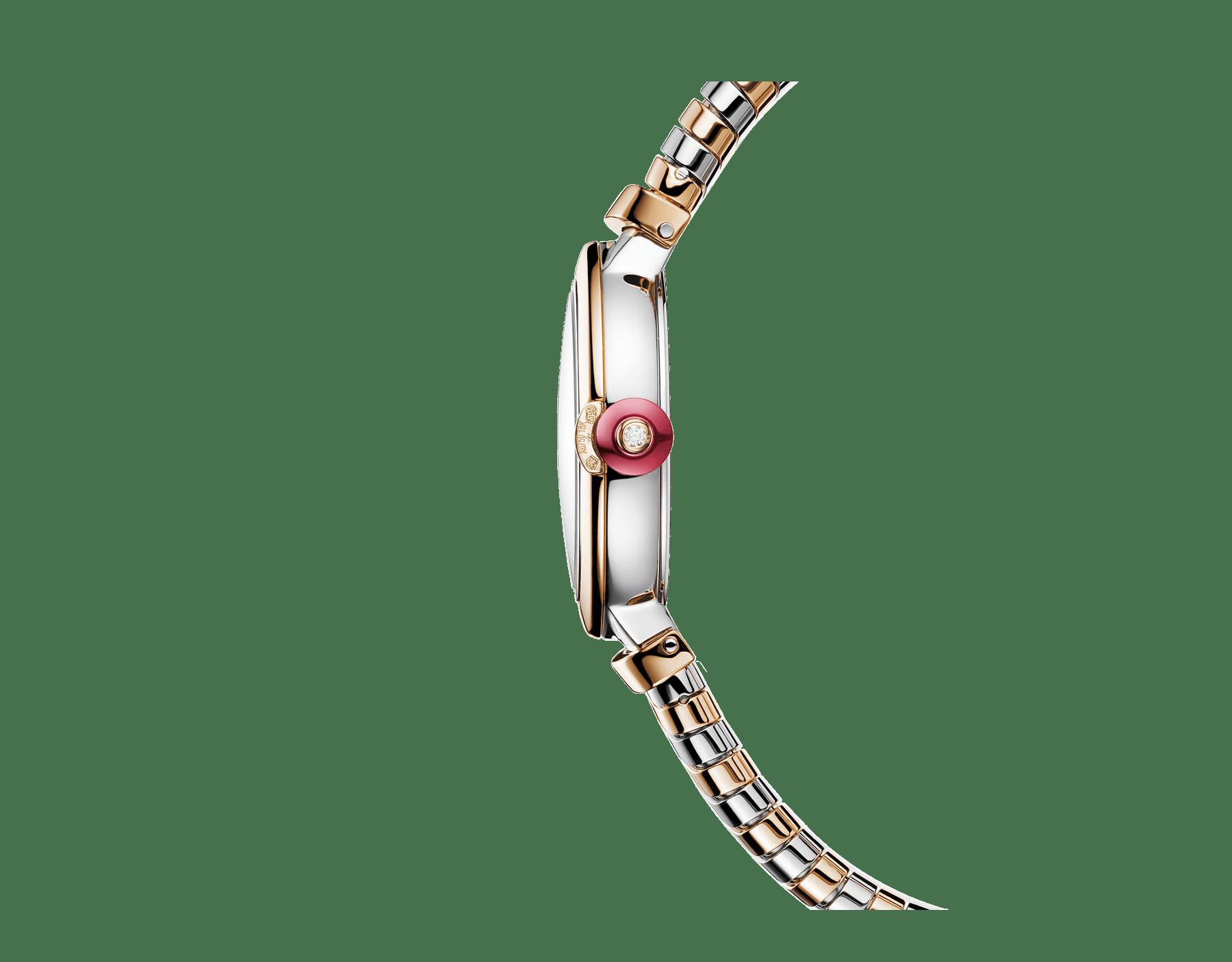 Montre LVCEA Tubogas avec boîtier et bracelet Tubogas en or rose 18K et acier inoxydable, cadran en nacre blanche et index sertis de diamants 102952 image 2