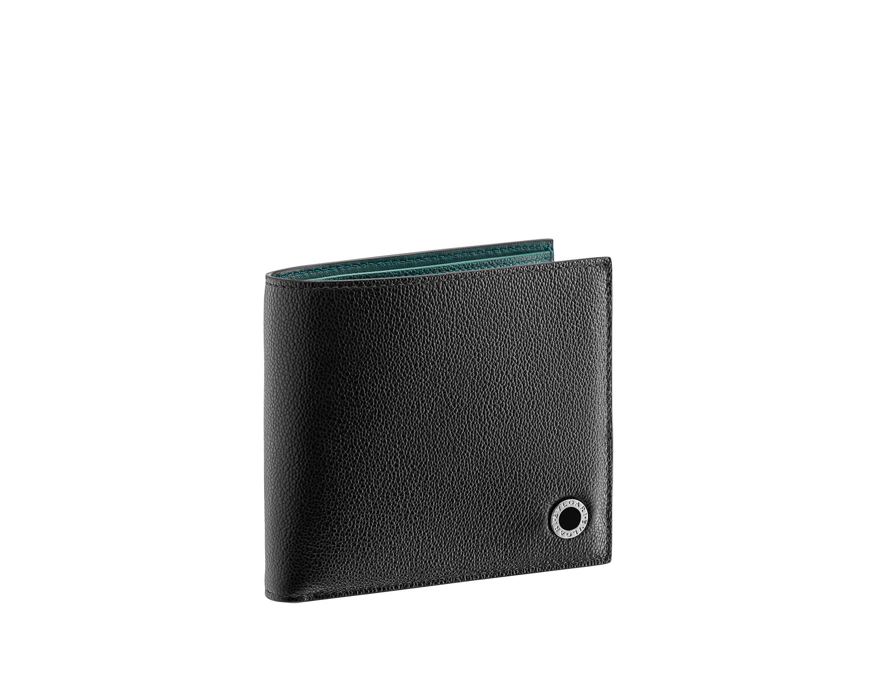 """""""BVLGARI BVLGARI"""" men's compact wallet in black and Forest Emerald green """"Urban"""" grain calf leather. Iconic logo embellishment in dark ruthenium-plated brass with black enameling. BBM-WLTITALASYM image 1"""