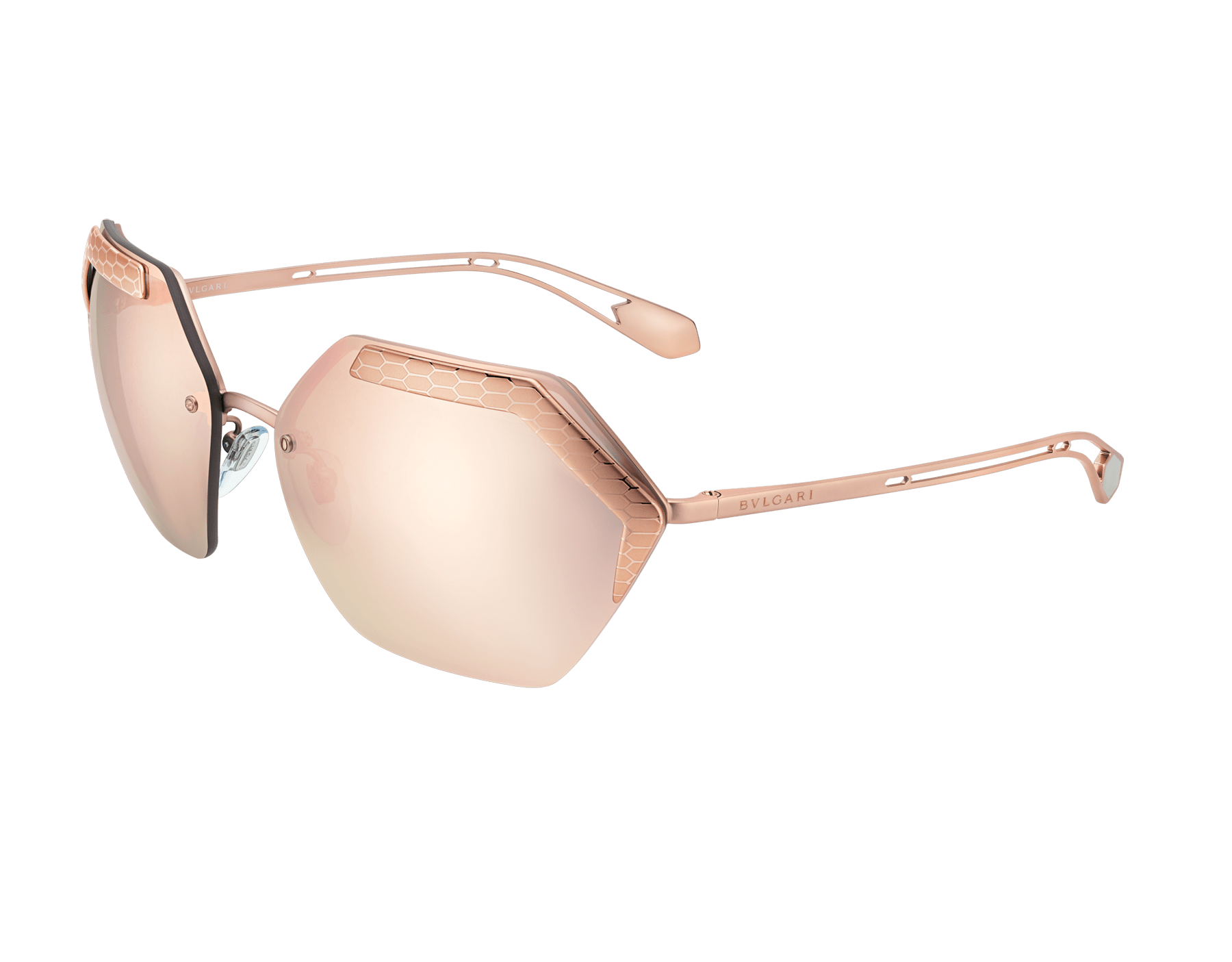 Bulgari Serpent eyes Revolution hexagonal wrap-around metal sunglasses. 904006 image 1