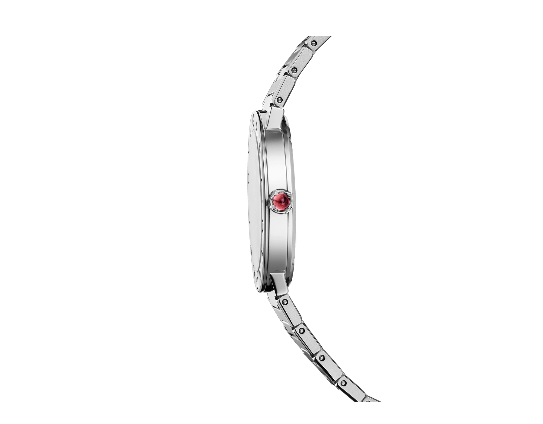 BVLGARI BVLGARI LADY watch with stainless steel case, stainless steel bracelet, stainless steel bezel engraved with double logo and green sun-brushed dial. 103066 image 3