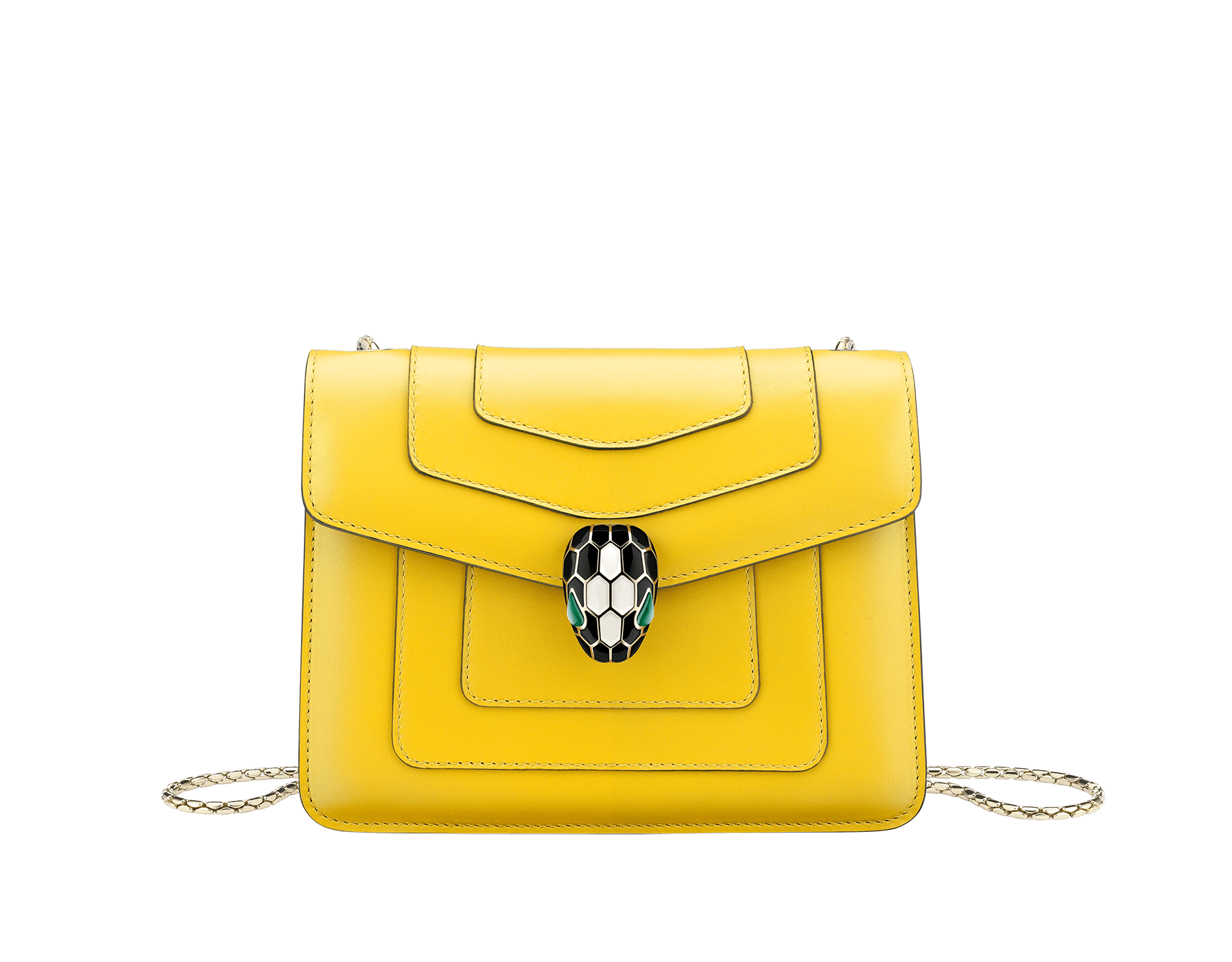 """Serpenti Forever"" crossbody bag in daisy topaz calf leather. Iconic snakehead closure in light gold plated brass enriched with black and white agate enamel, and green malachite eyes. 289650 image 1"