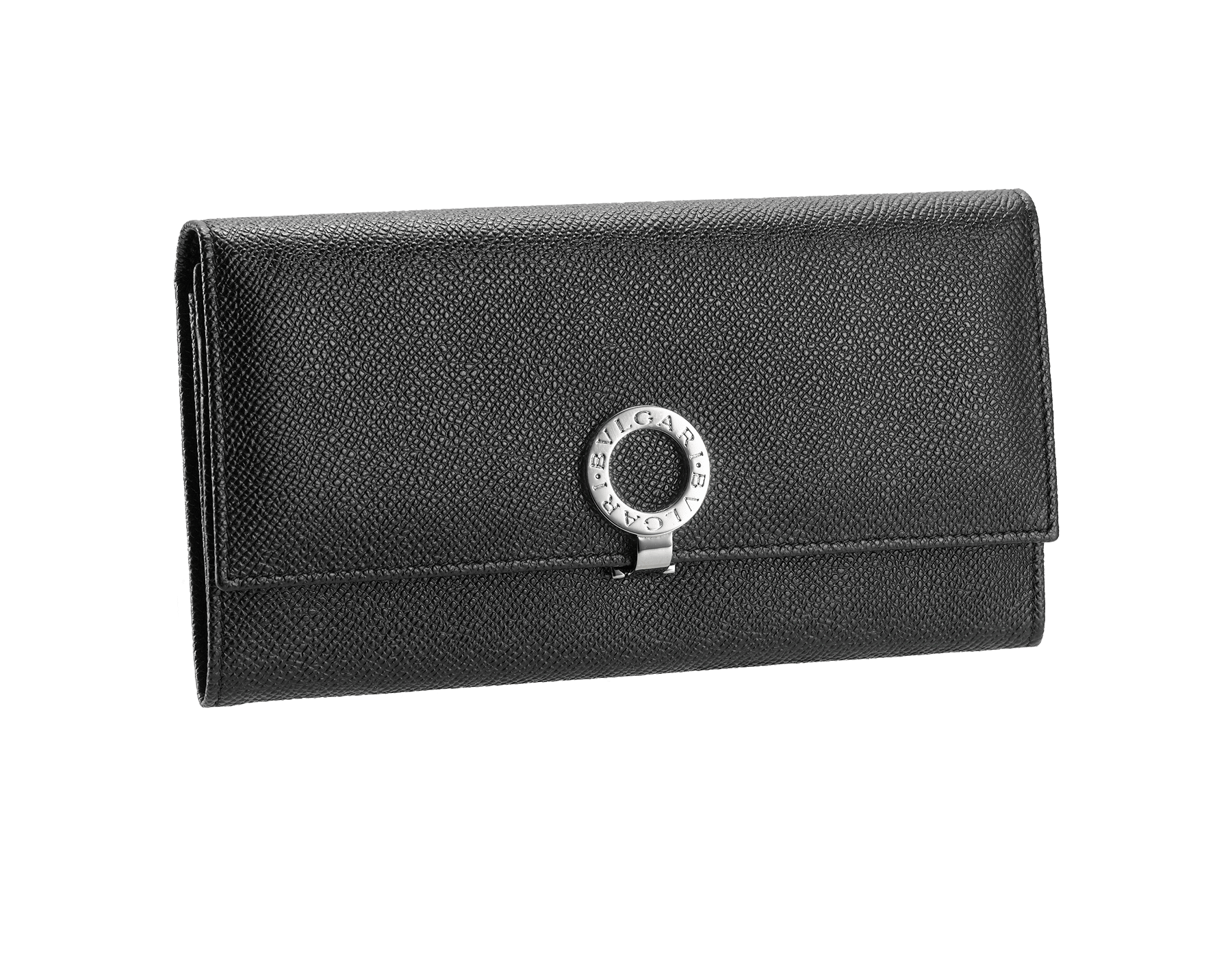 Woman wallet pochette 2 gussets & 10CC with clip,Grain leather black/Palladium, Lining 100% Leather royal 30414 image 1