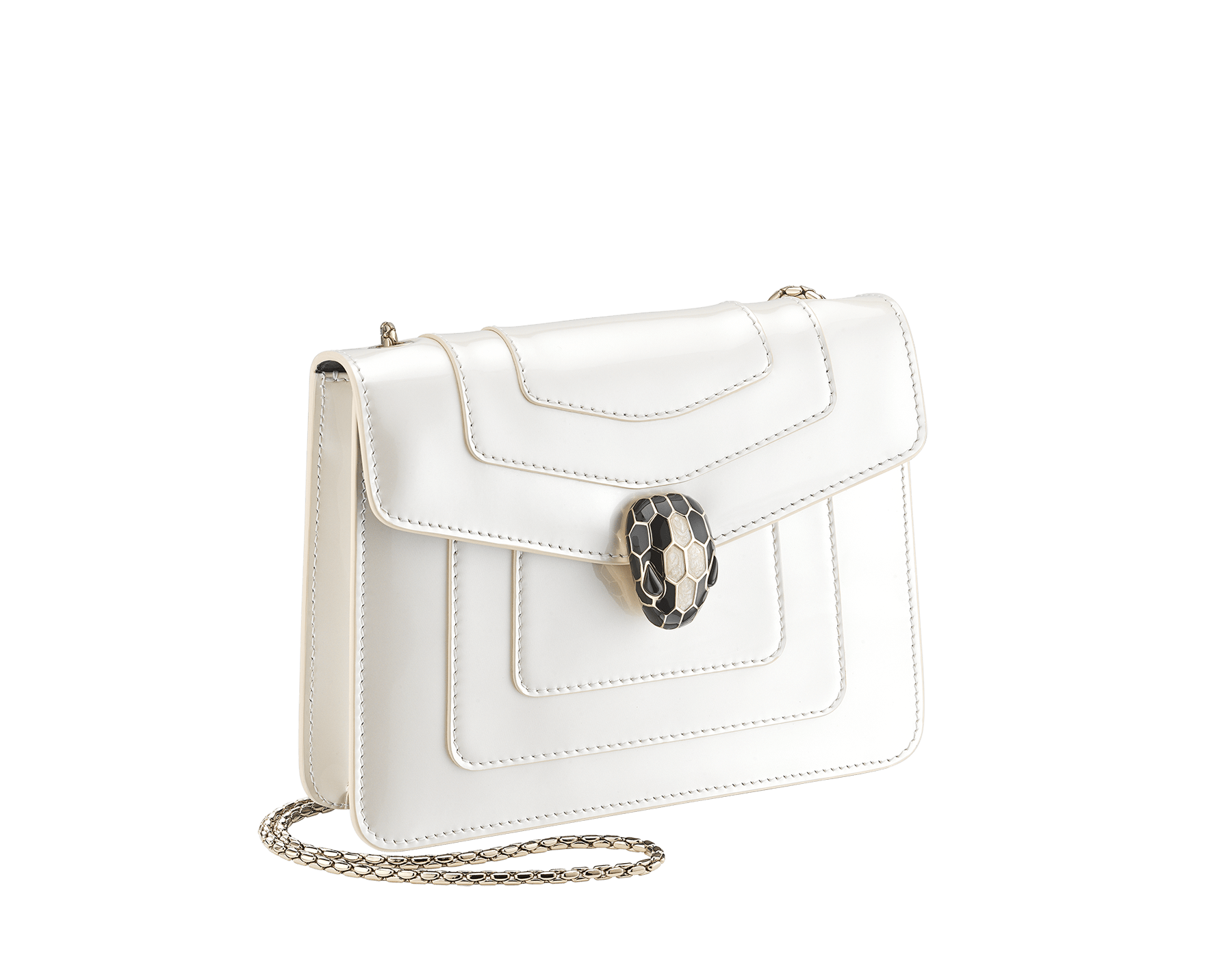 """Serpenti Forever"" crossbody bag in white agate calf leather with a varnished and pearled effect. Iconic snakehead closure in light gold plated brass enriched with black and pearled white agate enamel, and black onyx eyes 289769 image 2"