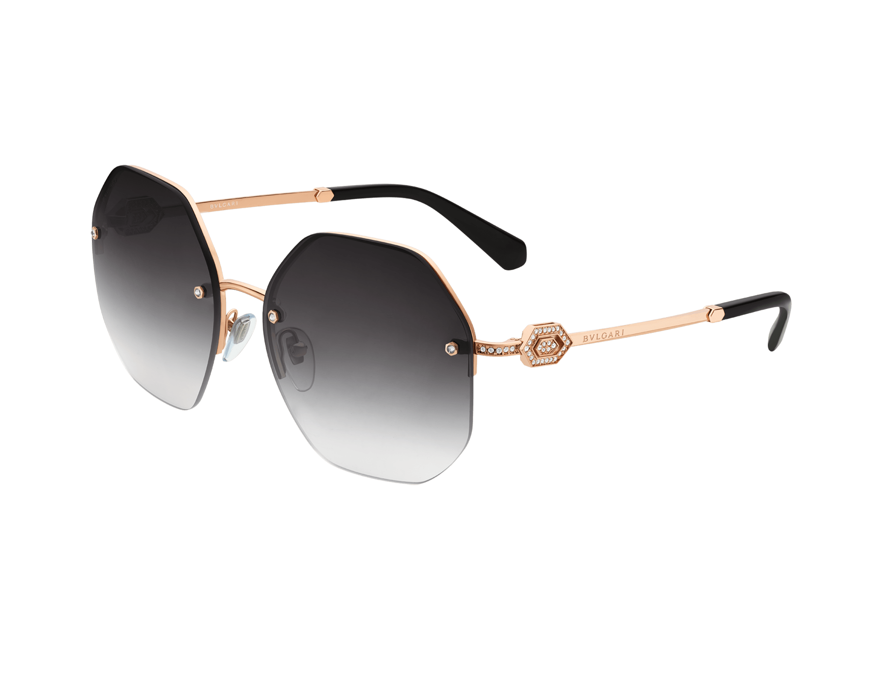Bvlgari Serpenti oversized metal sunglasses with Serpenti openwork metal décor with crystals. 903851 image 1