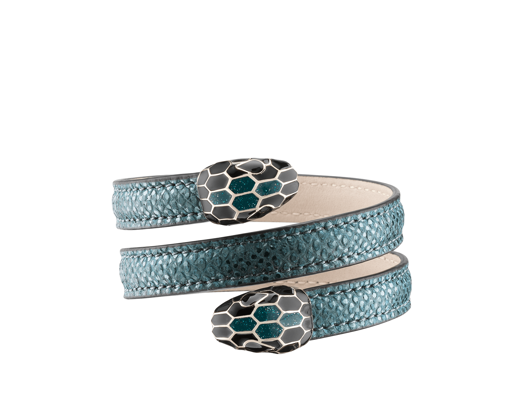 Serpenti Forever multi-coiled rigid Cleopatra bracelet in deep jade metallic karung skin, with brass light gold plated hardware. Iconic double snakehead décor in black and glitter deep jade enamel, with black enamel eyes. Cleopatra-MK-DJ image 1