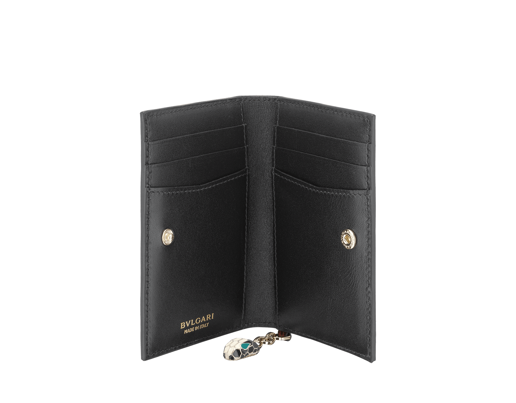 Folded credit card holder in forest emerald brushed metallic calf leather and black calf leather, with brass light gold plated hardware and stud closure. Serpenti head charm in black and white enamel with green enamel eyes. SEA-CC-HOLDER-FOLD-BMCLb image 2