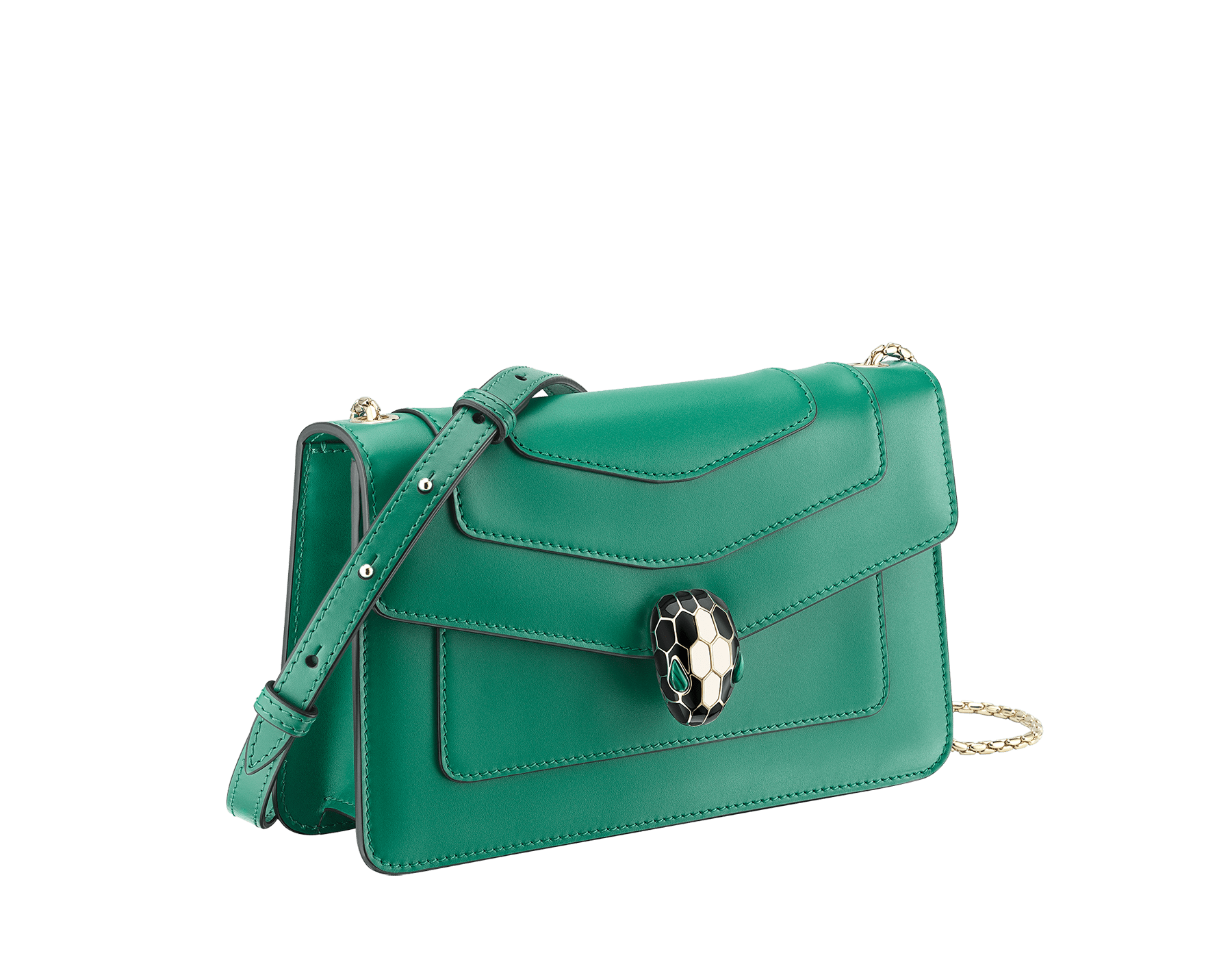 """Serpenti Forever"" crossbody bag in crystal rose calf leather. Iconic snakehead closure in light gold plated brass enriched with black and white enamel and green malachite eyes 625-CLa image 2"