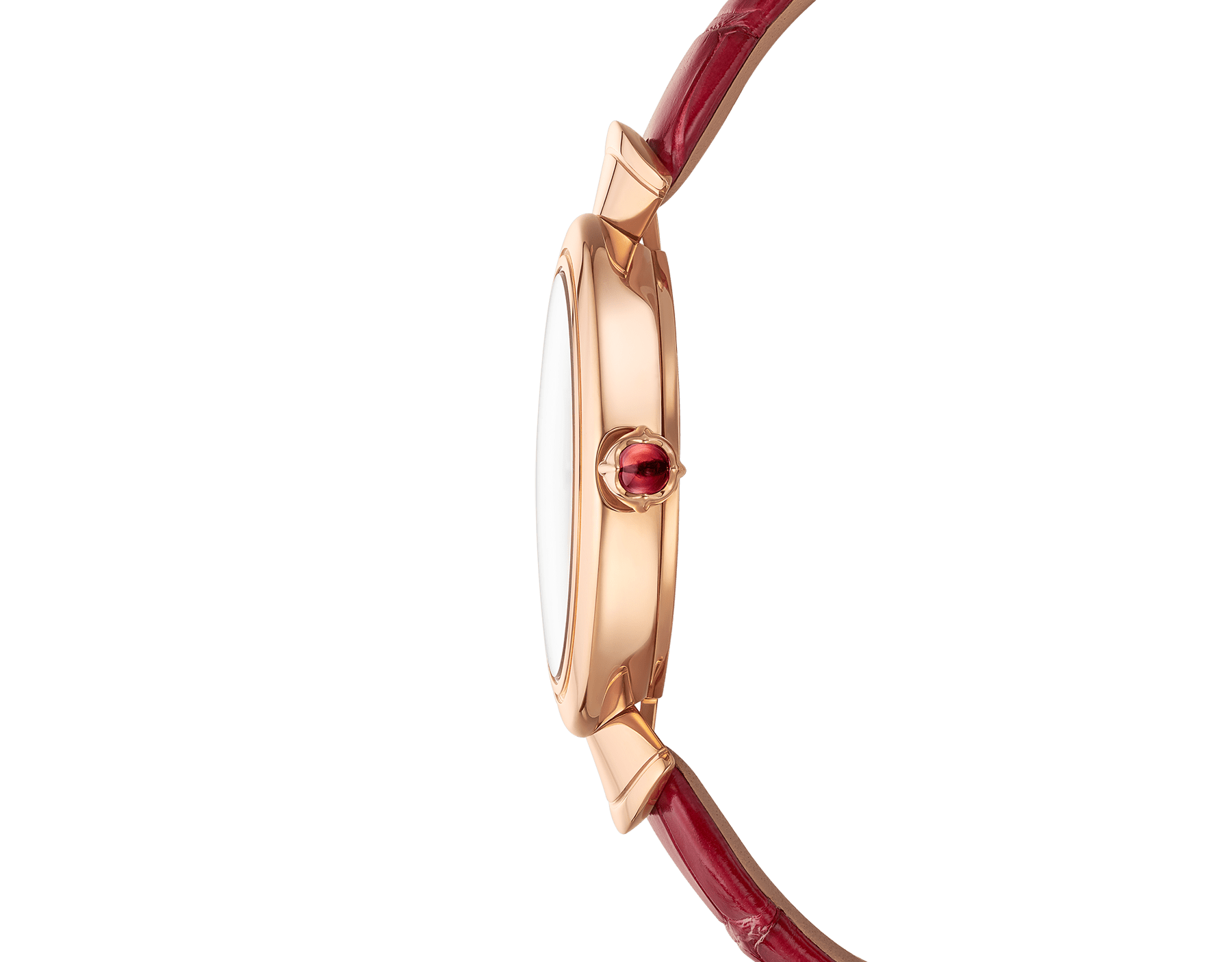 DIVAS' DREAM watch with 18 kt rose gold case, white acetate dial set with diamond indexes and red alligator bracelet. 102840 image 3