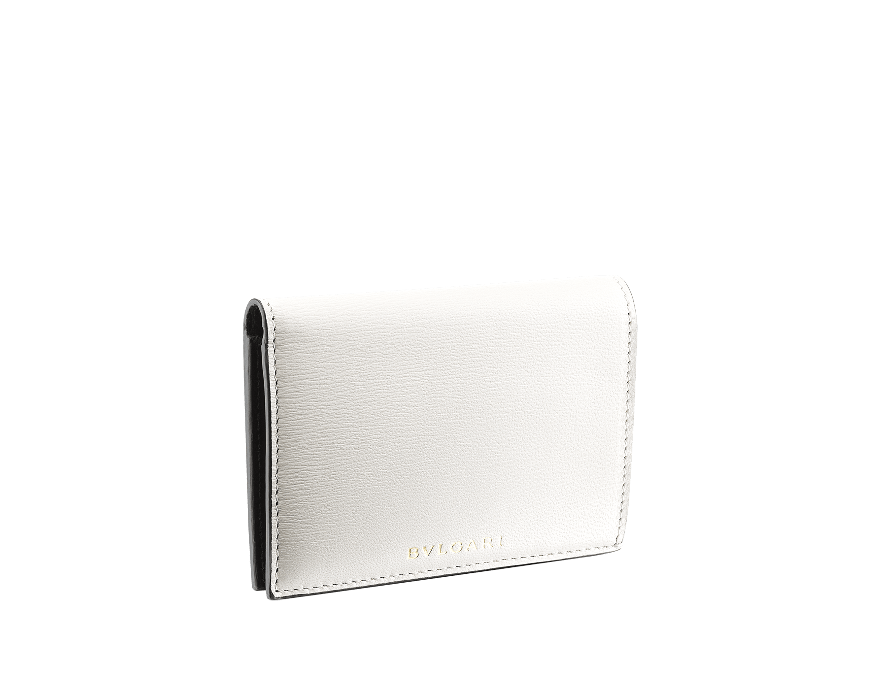 B.zero1 double folded credit card holder in black goatskin. Iconic B.zero1 charm in light gold plated brass. BZA-DOUBLECCHOLD image 1