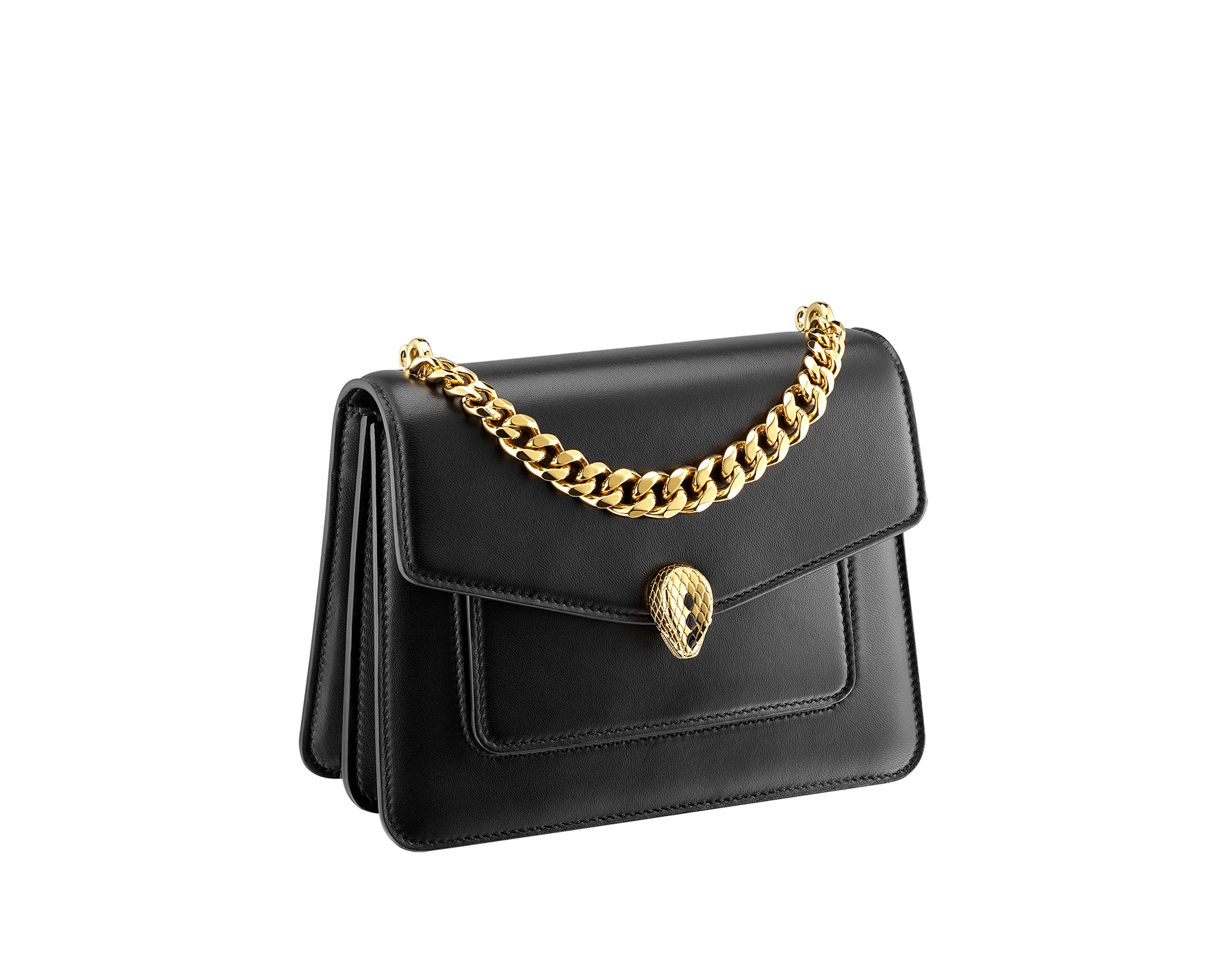 """""""Serpenti Forever"""" small maxi chain crossbody bag in black nappa leather, with black nappa leather inner lining. New Serpenti head closure in gold-plated brass, finished with small black onyx scales in the middle, and red enamel eyes. 291050 image 2"""