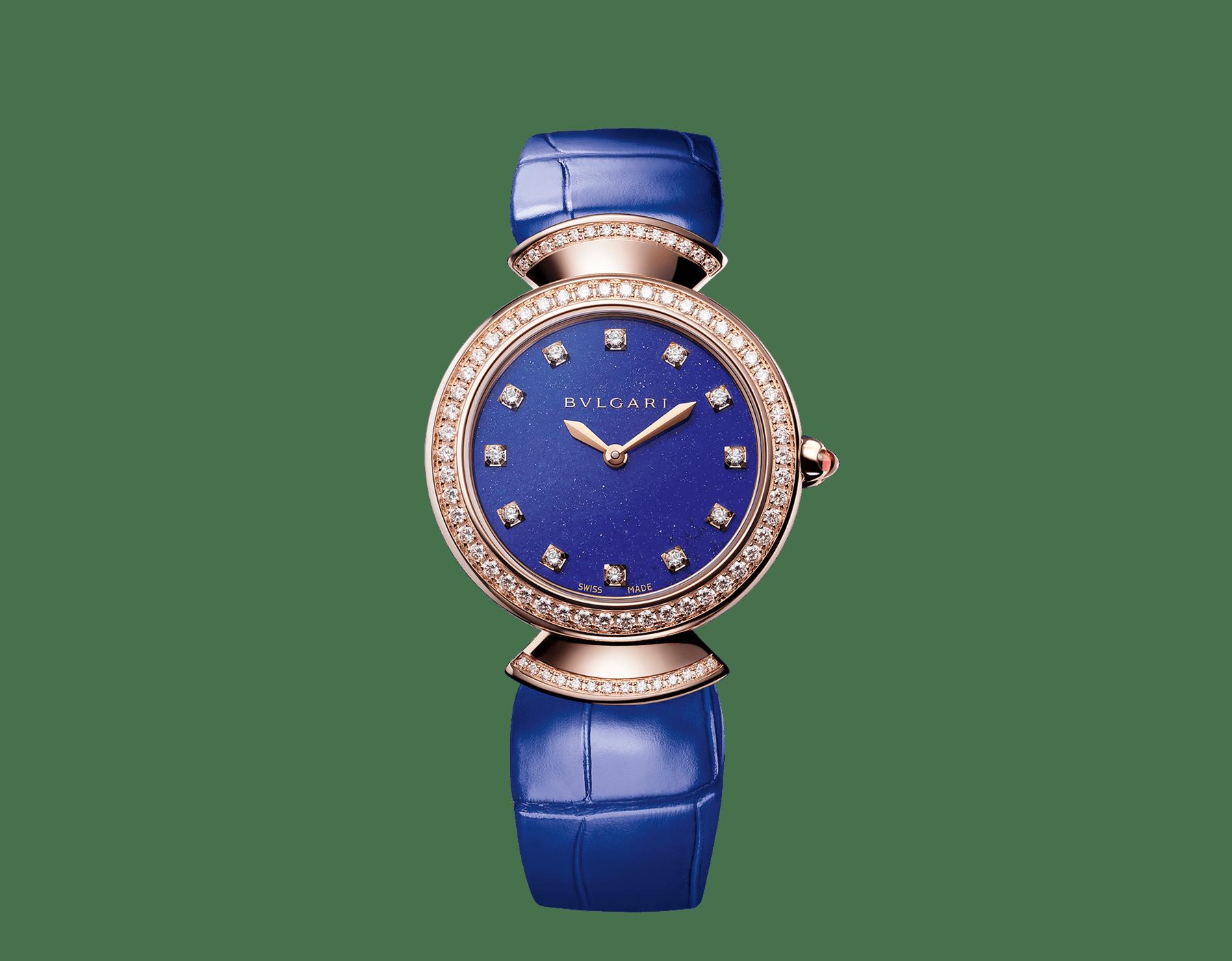 Часы DIVAS' DREAM, корпус из розового золота 18 карат, безель и крепления в форме веера из розового золота 18 карат с бриллиантами круглой огранки, циферблат из лазурита, бриллиантовые метки, ремешок из кожи аллигатора синего цвета. 103261 image 1
