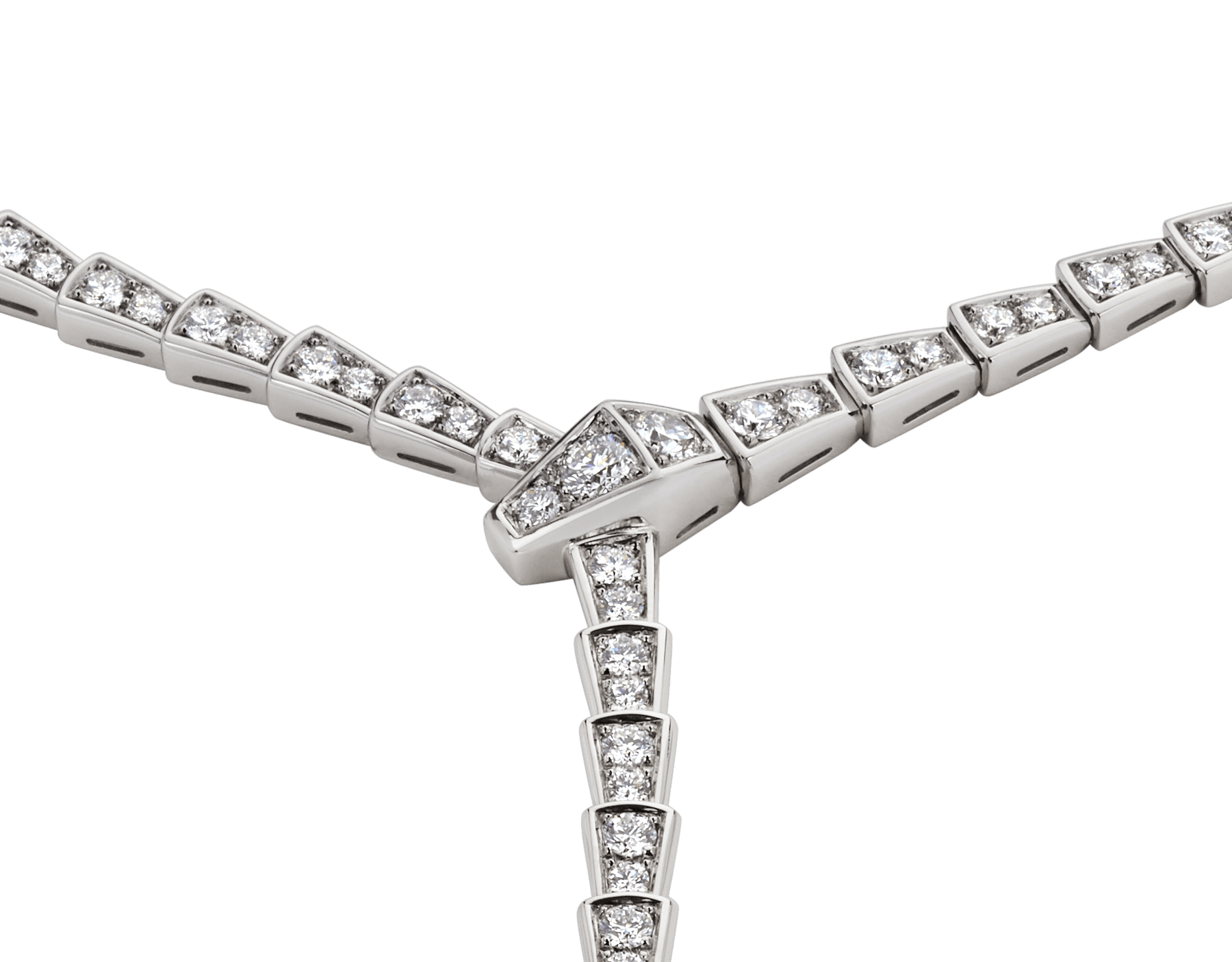 Serpenti Viper slim necklace in 18 kt white gold, set with full pavé diamonds. 351090 image 2