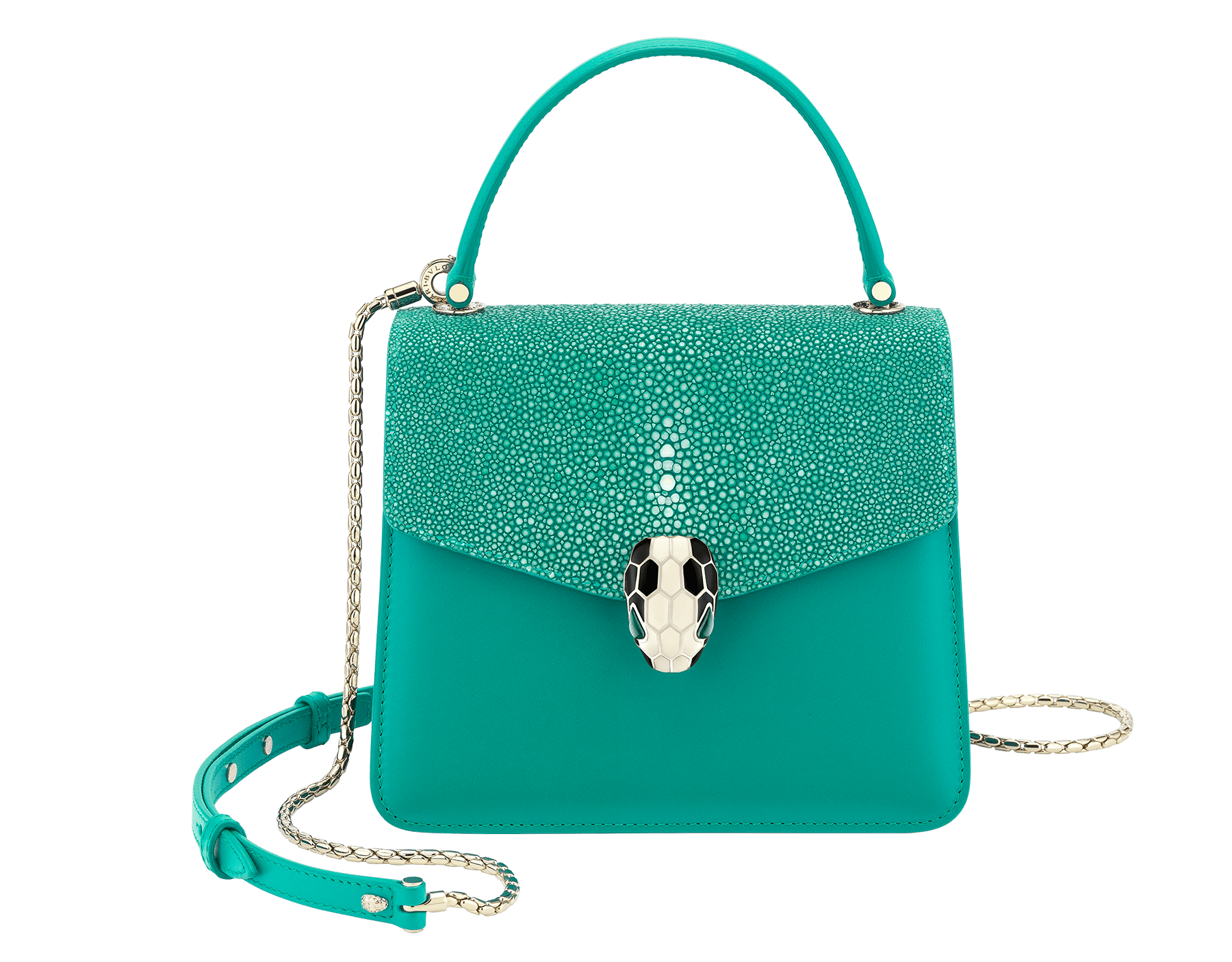 """Serpenti Forever"" crossbody bag in candy quartz galuchat skin and calf leather. Iconic snakehead closure in light gold plated brass enriched with black and white enamel and green malachite eyes 752-Gb image 1"