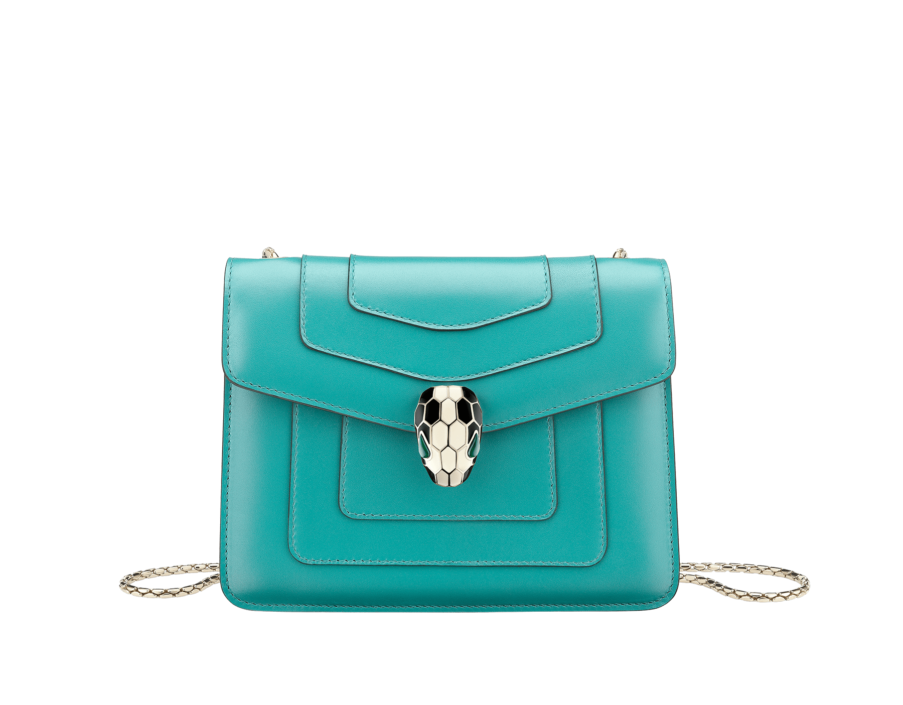 """Serpenti Forever"" crossbody bag in arctic jade calf leather. Iconic snake head closure in light gold plated brass enriched with black and white enamel and green malachite eyes. 288696 image 1"