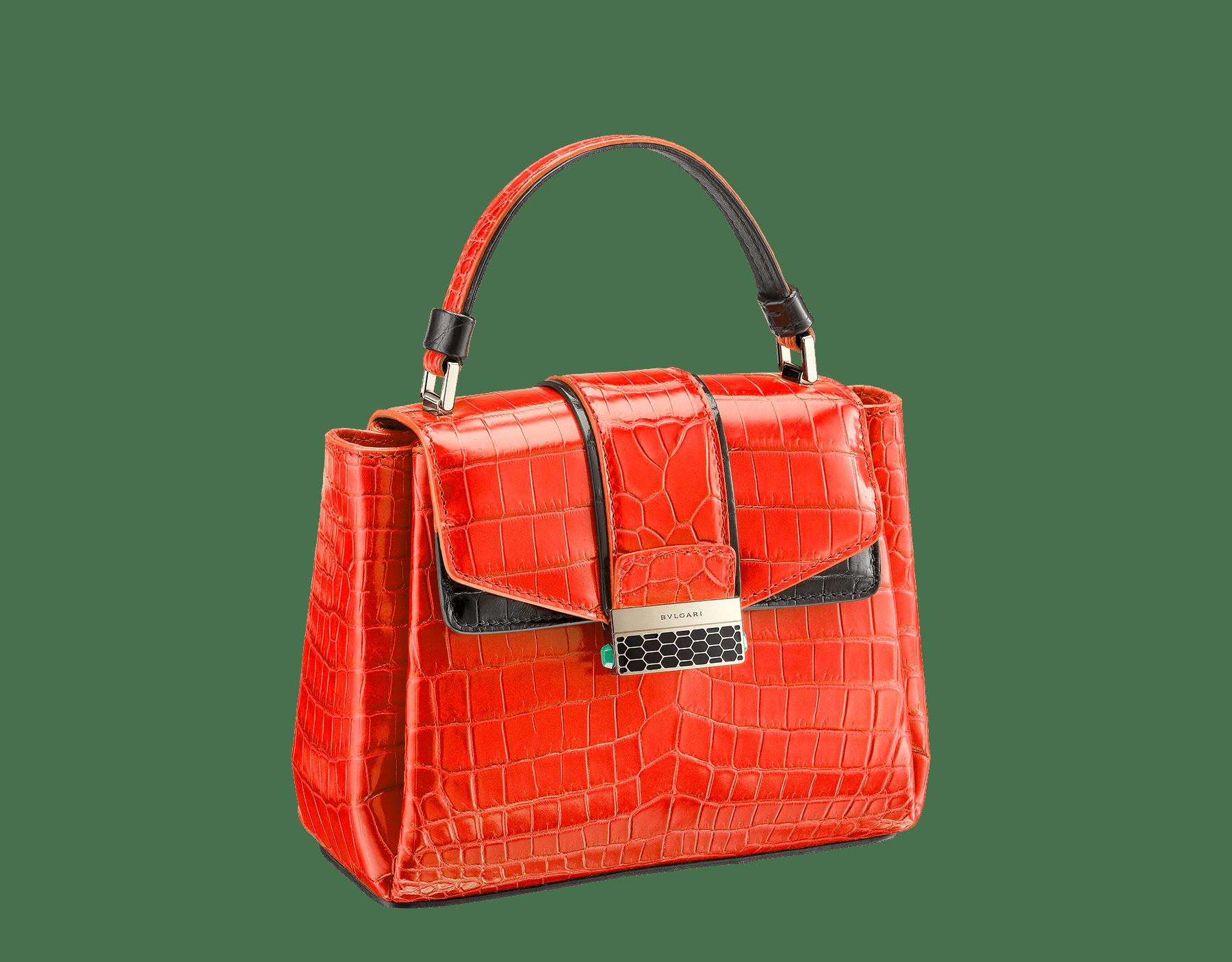 Top handle bag Serpenti Viper in jasper flame and black shiny crocodile skin. 282925 image 2