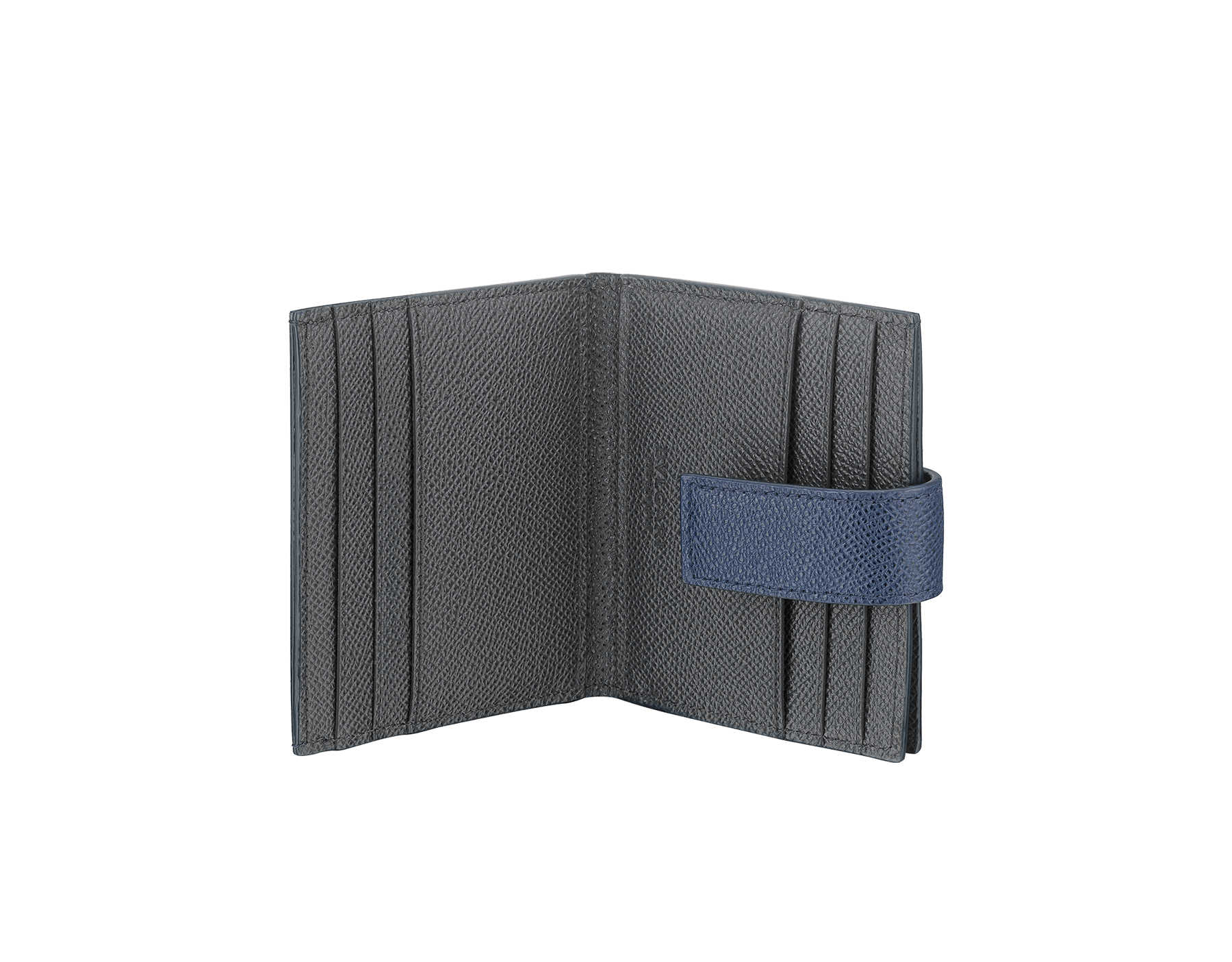 BVLGARI BVLGARI folded credit card holder in denim sapphire and charcoal diamond grain calf leather. Iconic logo decoration in palladium-plated brass. 289235 image 2